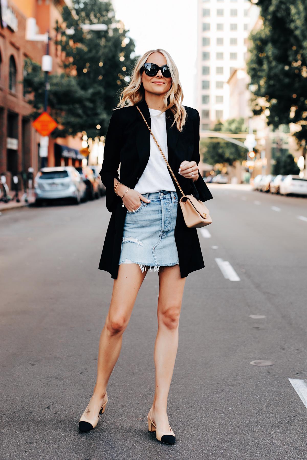 Fashion Jackson Wearing Anine Bing Black Blazer White Tshirt Levis Denim Skirt Chanel Beige Handbag Chanel Slingbacks 2