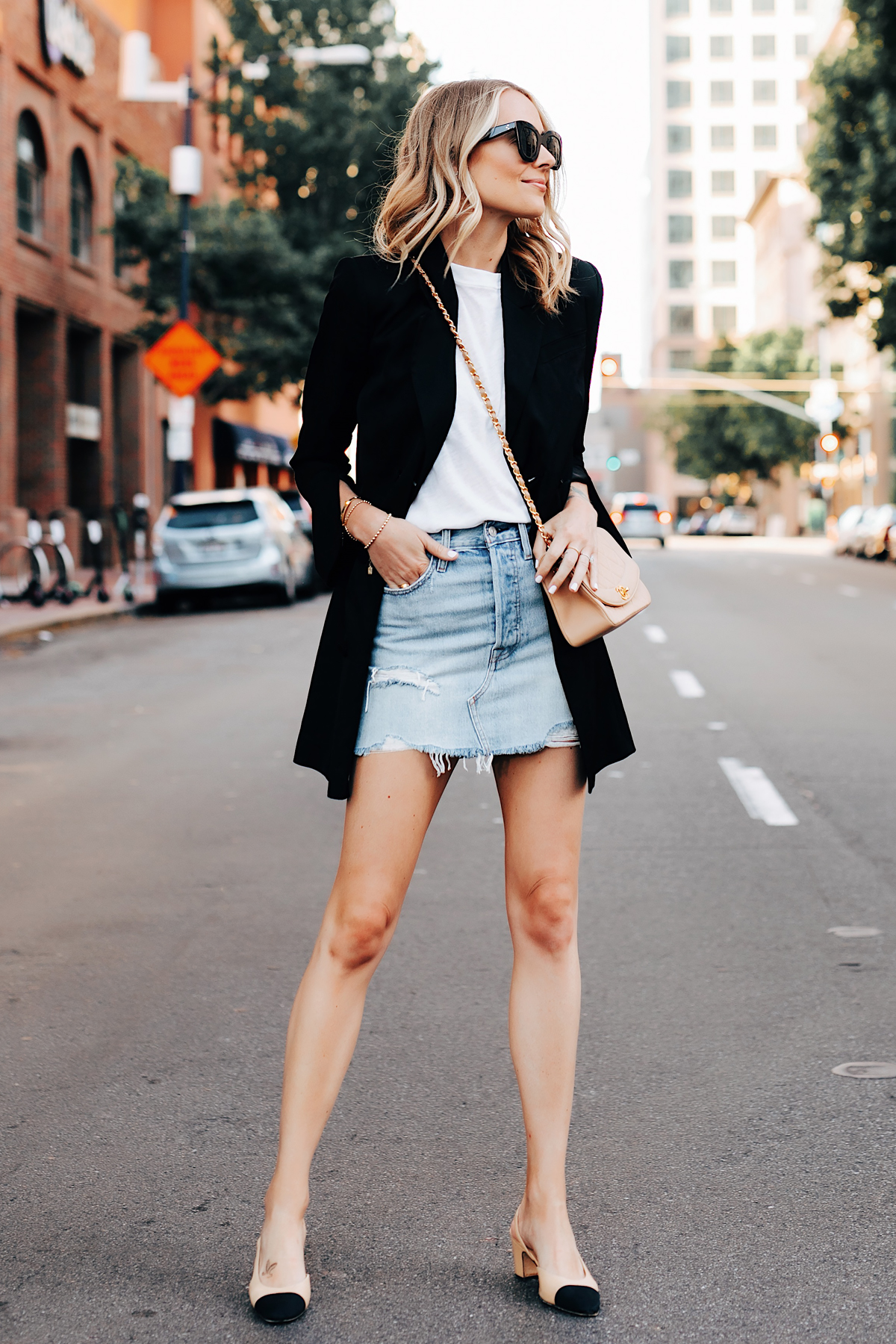 Fashion Jackson Wearing Anine Bing Black Blazer White Tshirt Levis Denim Skirt Chanel Beige Handbag Chanel Slingbacks 3