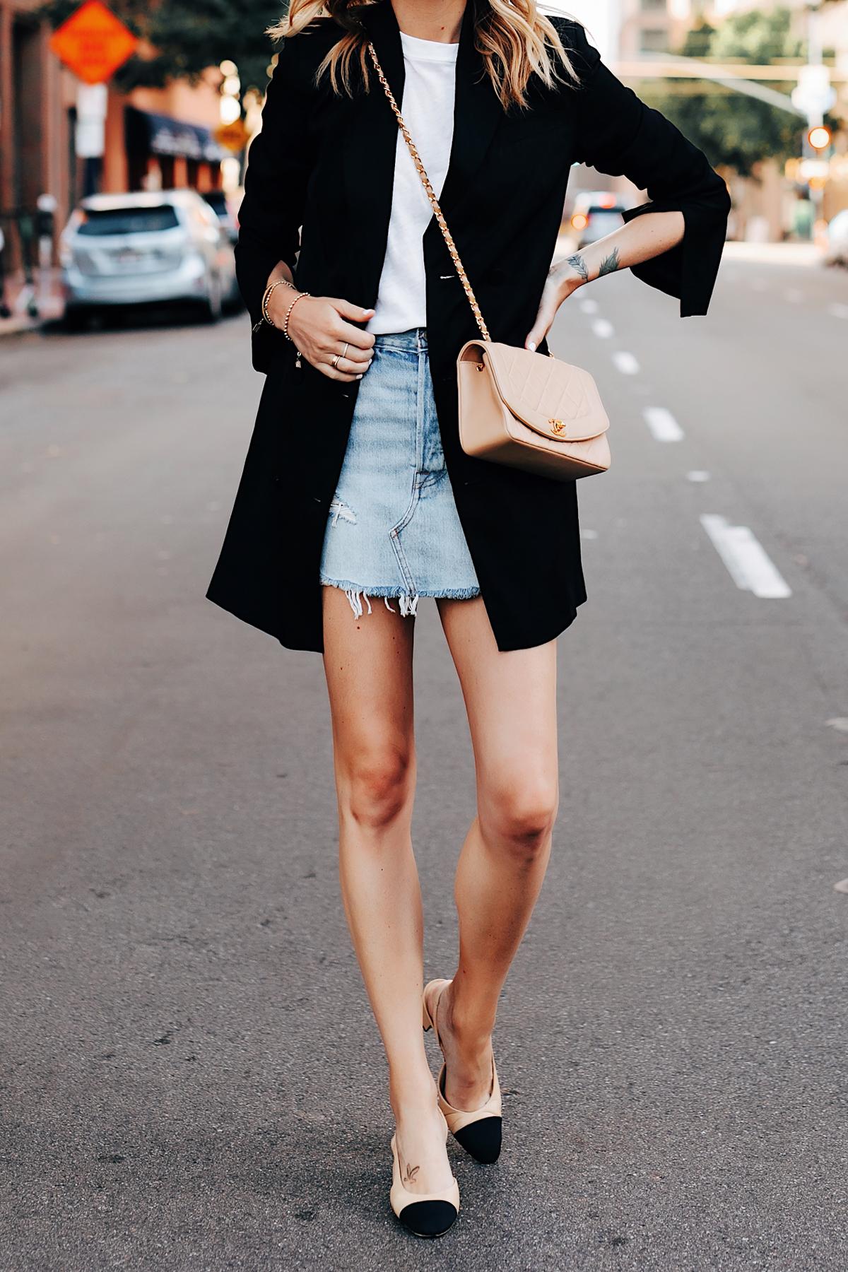 Fashion Jackson Wearing Anine Bing Black Blazer White Tshirt Levis Denim Skirt Chanel Beige Handbag Chanel Slingbacks