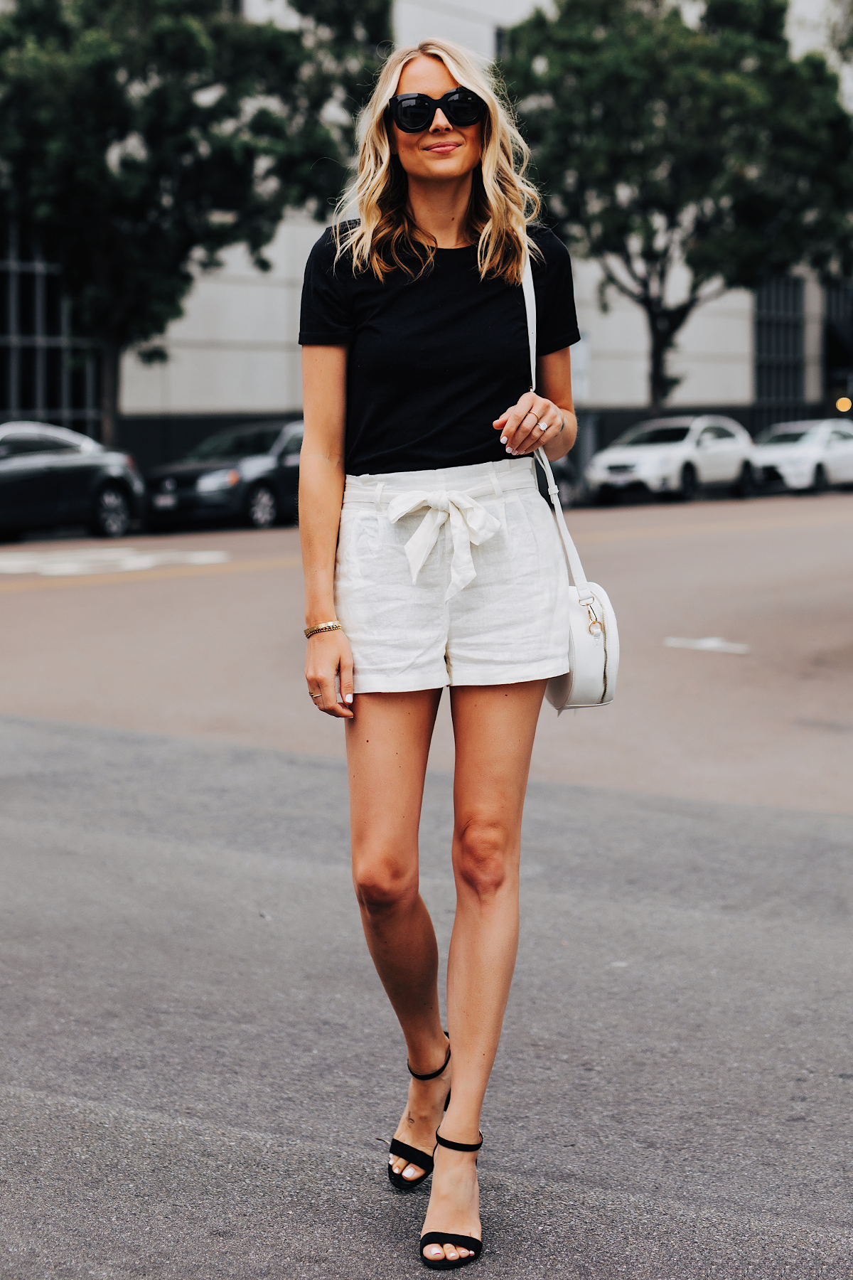 Fashion Jackson Wearing Black Tshirt White Tie Front Shorts Black Heeled Sandals 1