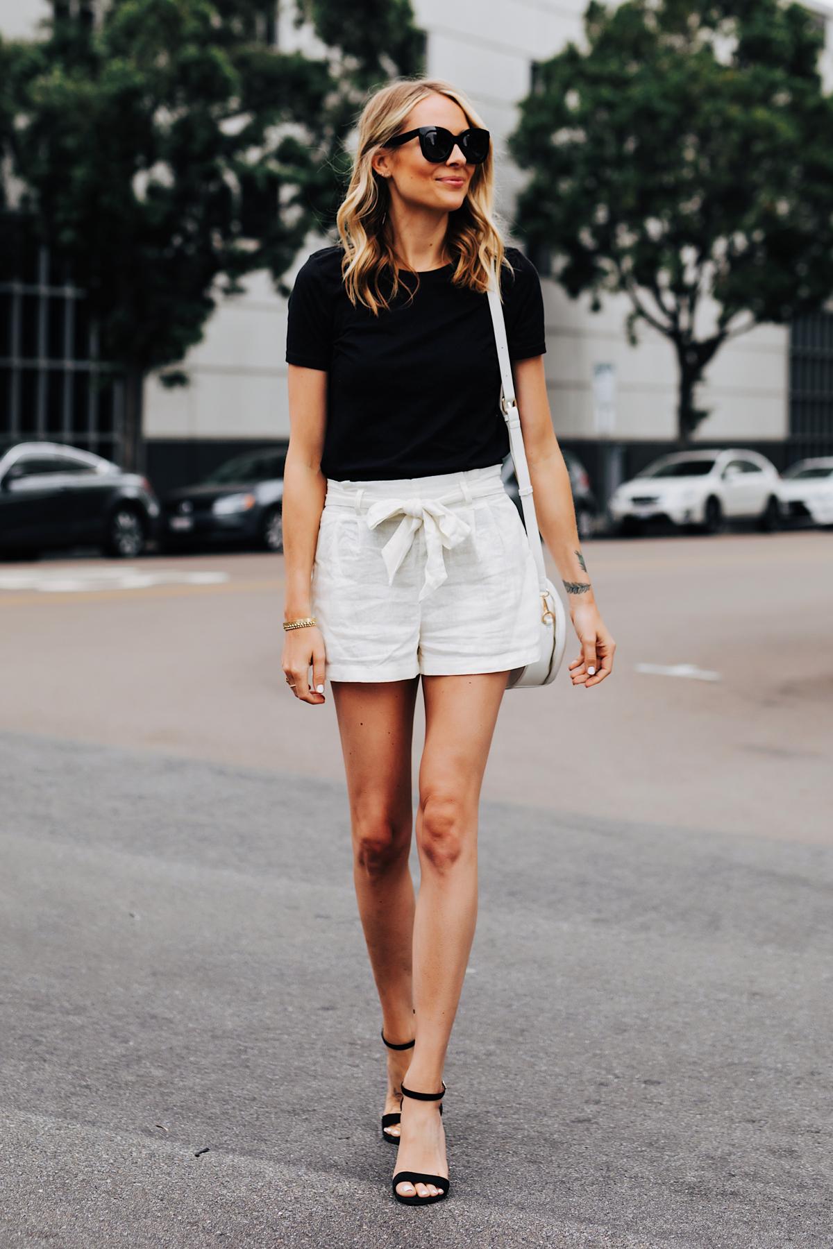 Fashion Jackson Wearing Black Tshirt White Tie Front Shorts Black Heeled Sandals