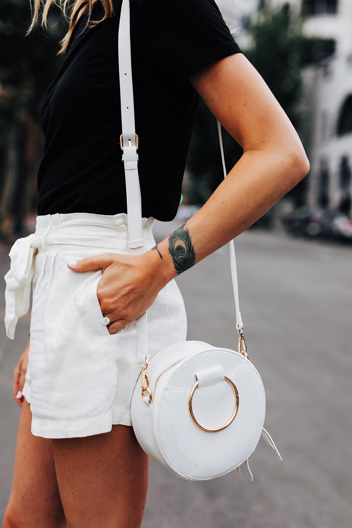 Fashion Jackson Wearing Black Tshirt White Tie Front Shorts White Circle Handbag