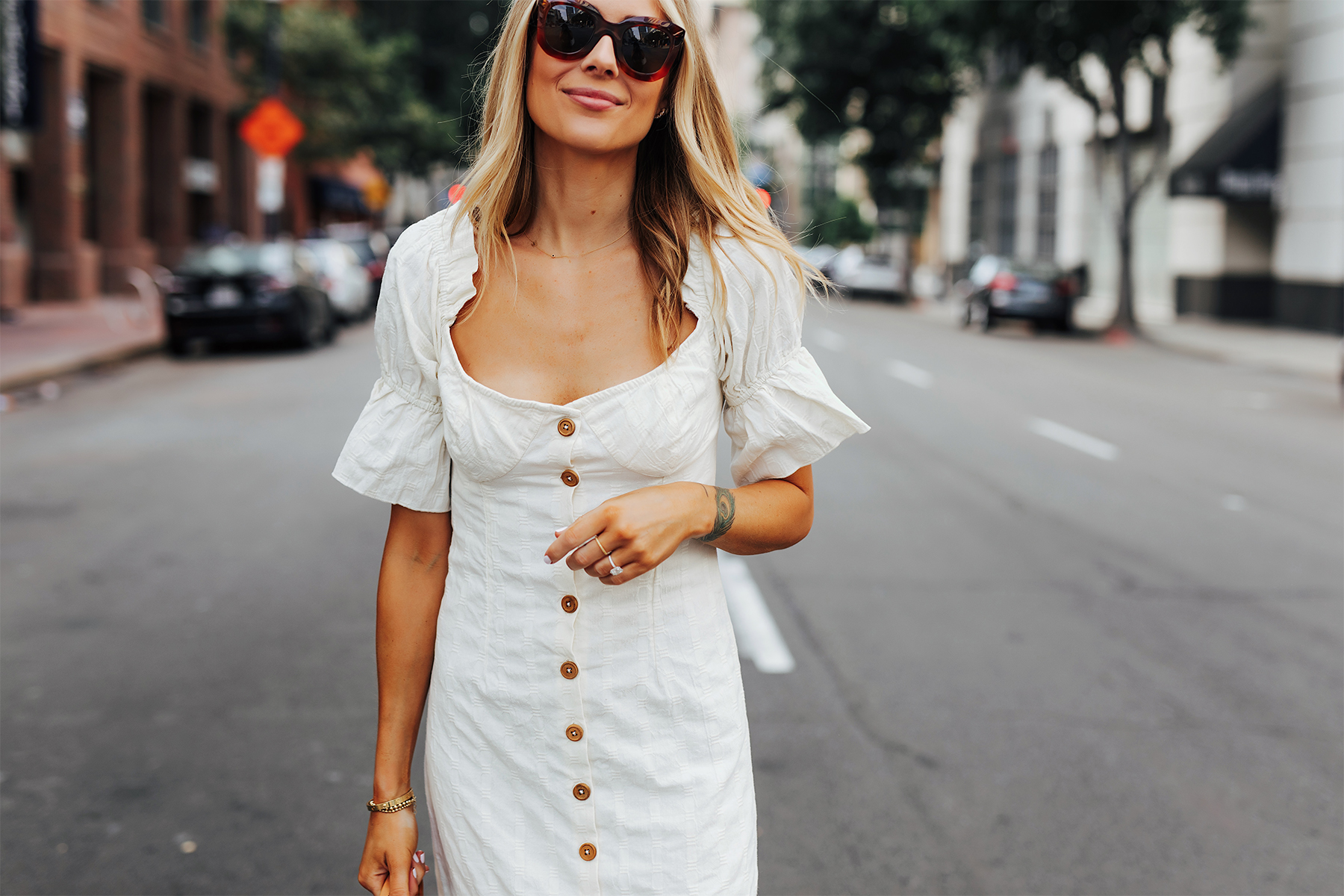 Fashion Jackson Wearing Free People White Off The Shoulder Button Front Midi Dress 1