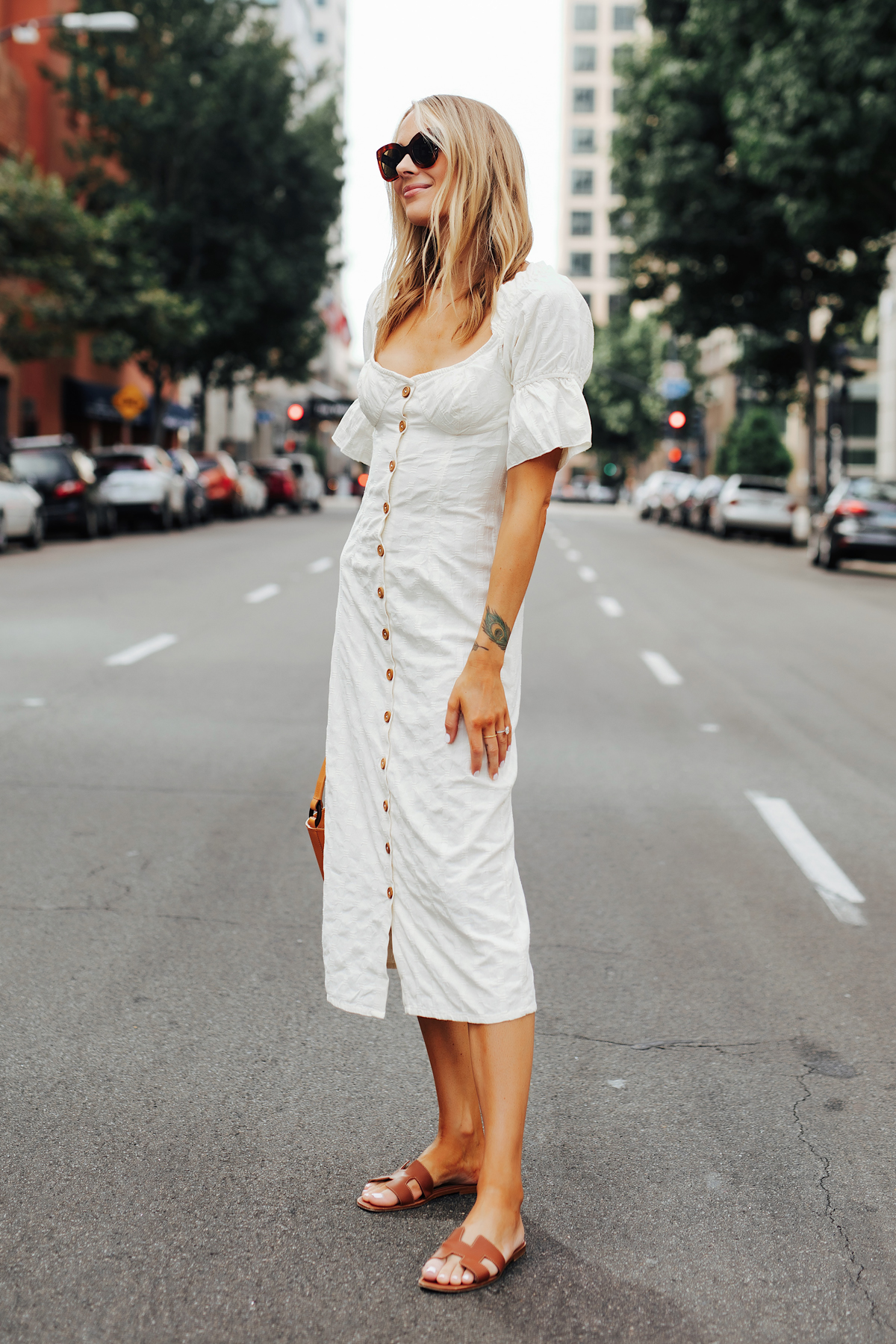 Fashion Jackson Wearing Free People White Off The Shoulder Button Front Midi Dress Hermes Oran Gold Sandals 1