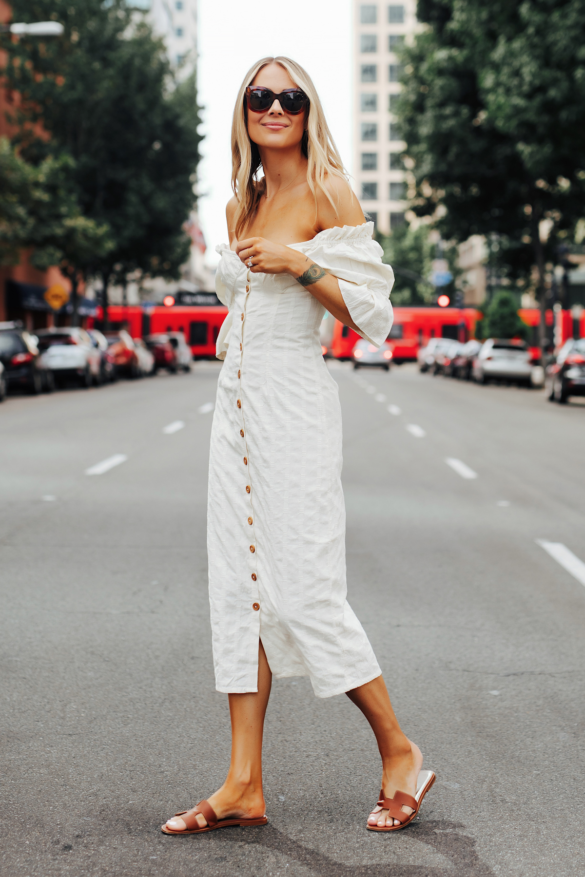 Fashion Jackson Wearing Free People White Off The Shoulder Button Front Midi Dress Hermes Oran Gold Sandals
