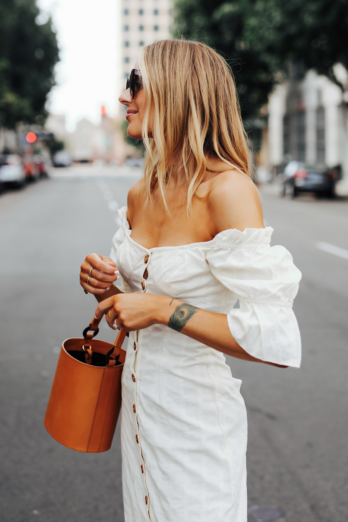 Fashion Jackson Wearing Free People White Off The Shoulder Button Front Midi Dress Tan Bucket Bag