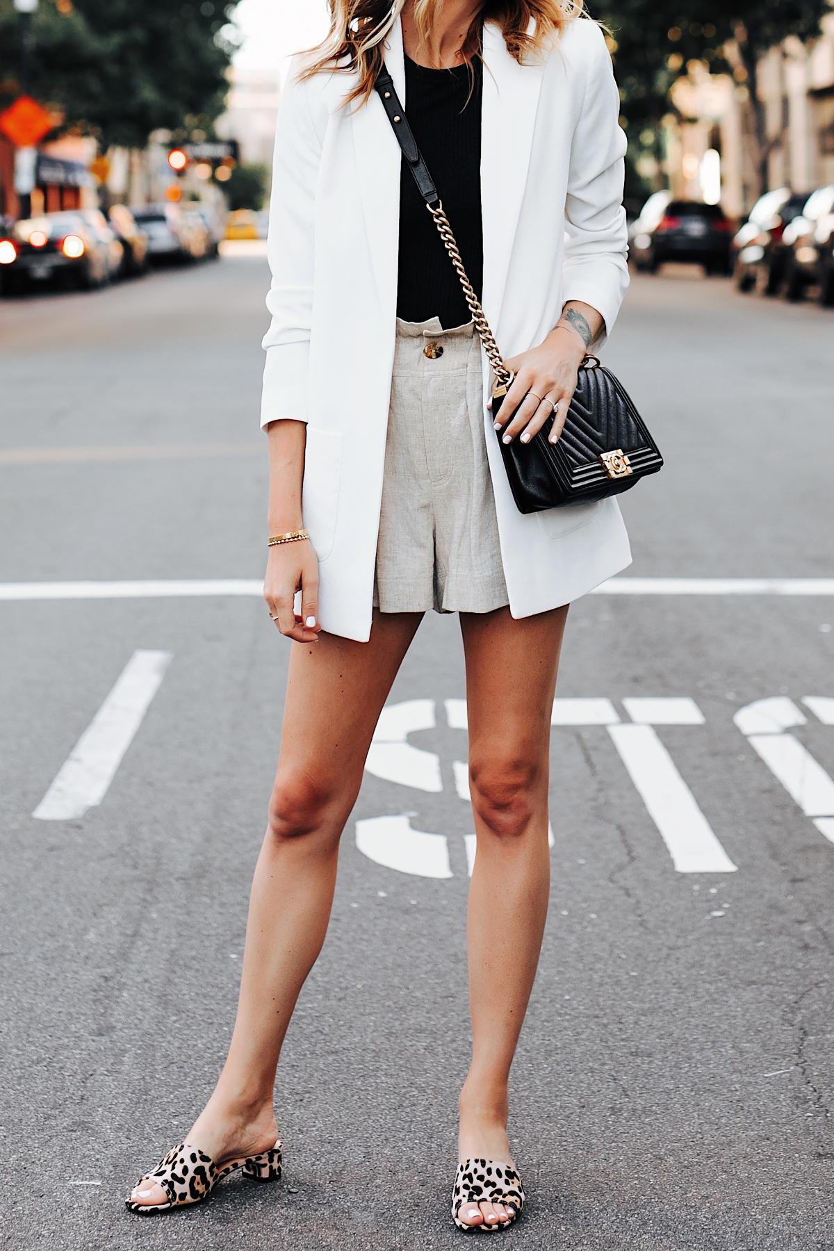 Fashion Jackson Wearing Long White Blazer Black Top Tan Linen Shorts Chanel Black Boy Bag Topshop Leopard Sandals