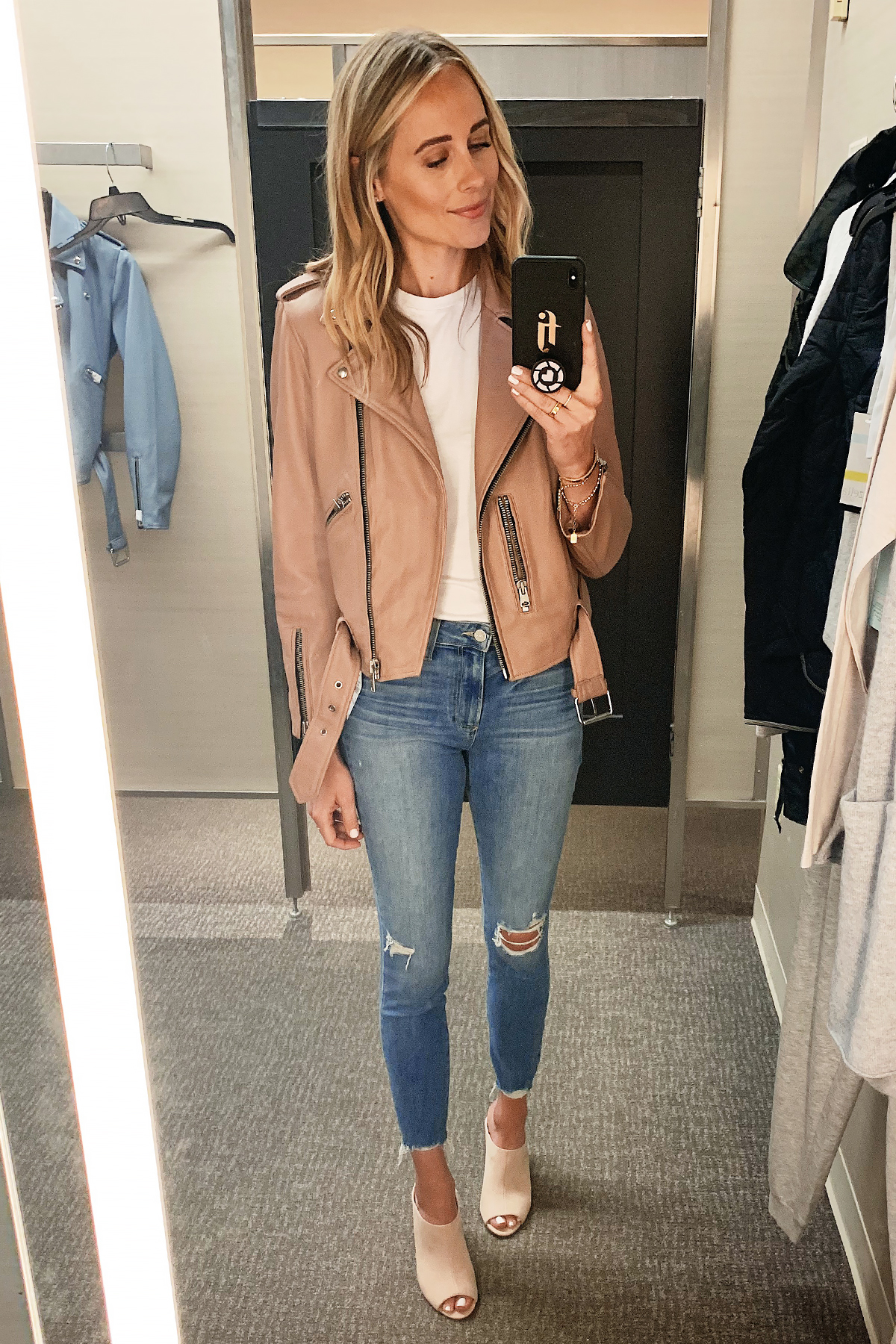 Fashion Jackson Wearing Nordstrom Anniversary Sale All Saints Blush Leather Jacket White Tshirt Paige Ripped Skinny Jeans Blush Mules
