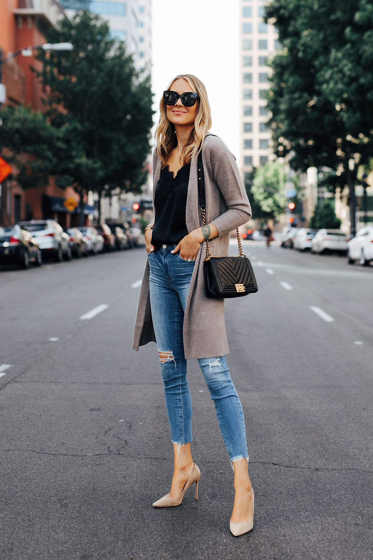 Fashion Jackson Wearing Nordstrom Anniversary Sale Halogen Cashmere Cardgian Black Lace Cami Paige Hoxton Skinny Jeans Chanel Black Boy Bag Nude Pumps 1