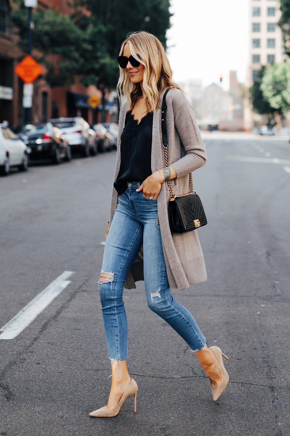 Fashion Jackson Wearing Nordstrom Anniversary Sale Halogen Cashmere Cardgian Black Lace Cami Paige Hoxton Skinny Jeans Chanel Black Boy Bag Nude Pumps