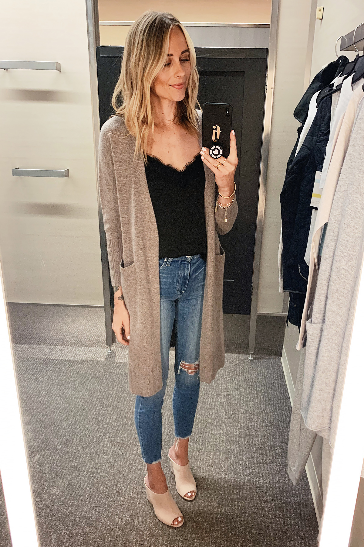 Fashion Jackson Wearing Nordstrom Anniversary Sale Halogen Long Cashmere Cardigan BP Black Lace Camisole Paige Ripped Skinny Jeans Blush Mules