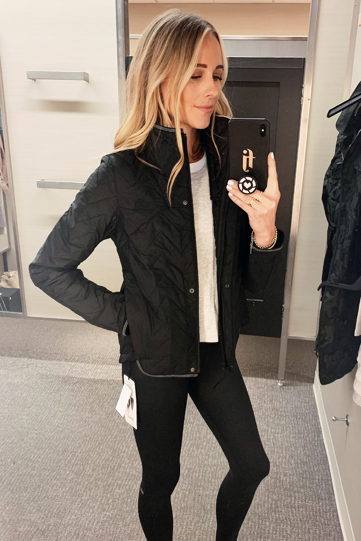 Fashion Jackson Wearing Nordstrom Anniversary Sale North Face Quilted Jacket Black Alo Leggings 1