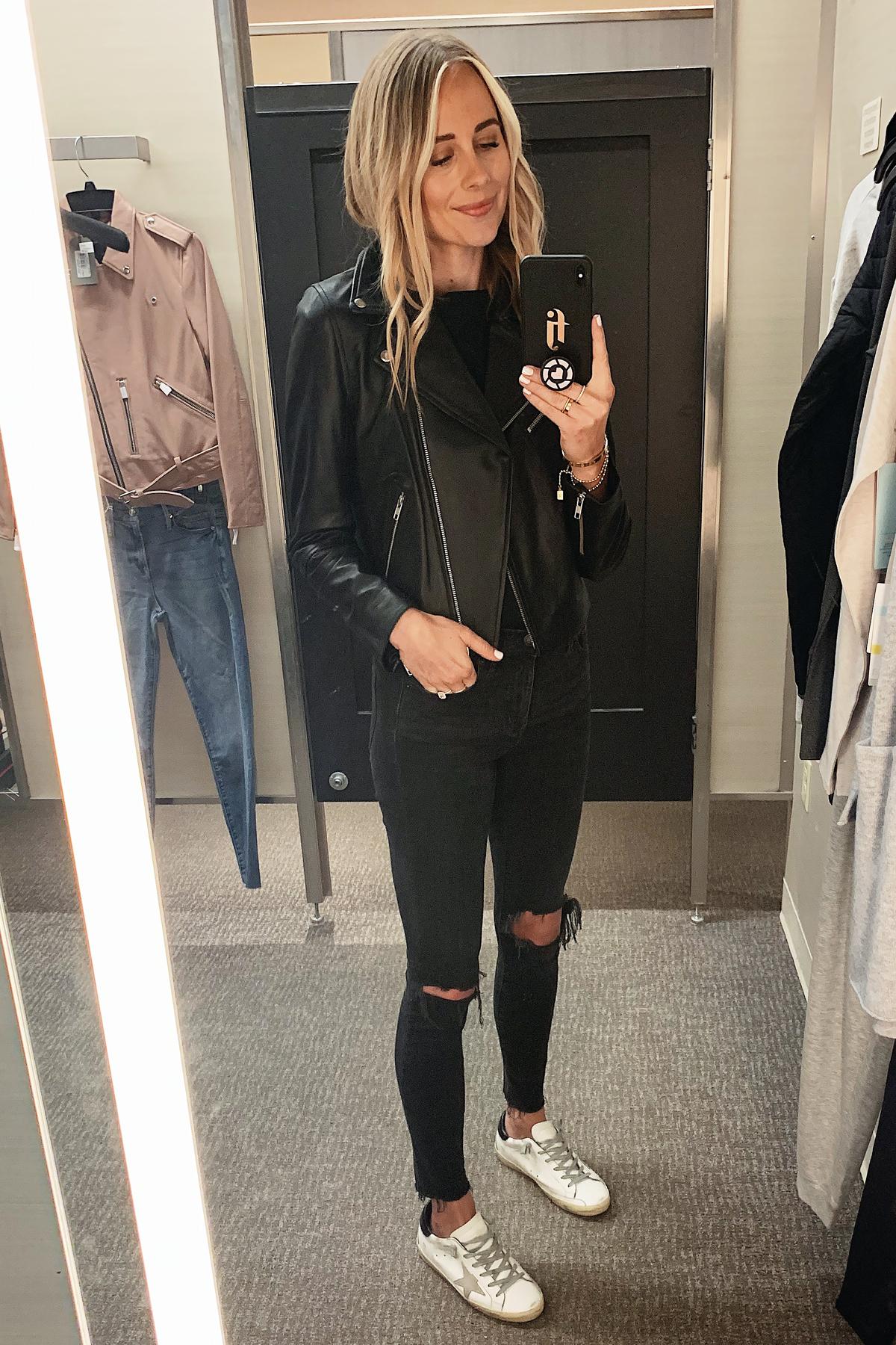 Fashion Jackson Wearing Nordstrom Anniversray Sale Halogen Black Leather Jacket Black Ripped Skinny Jeans Golden Goose Sneakers