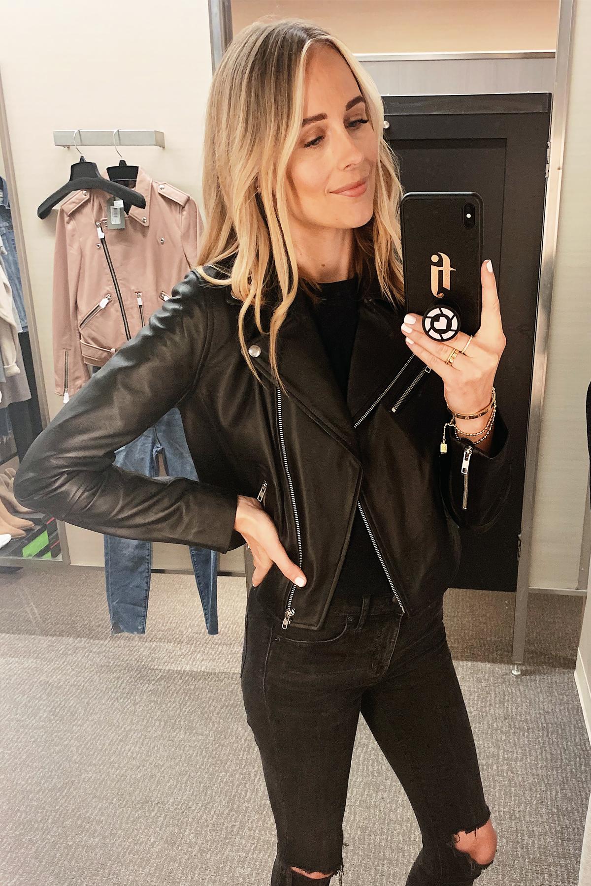 Fashion Jackson Wearing Nordstrom Anniversray Sale Halogen Black Leather Jacket Black Ripped Skinny Jeans