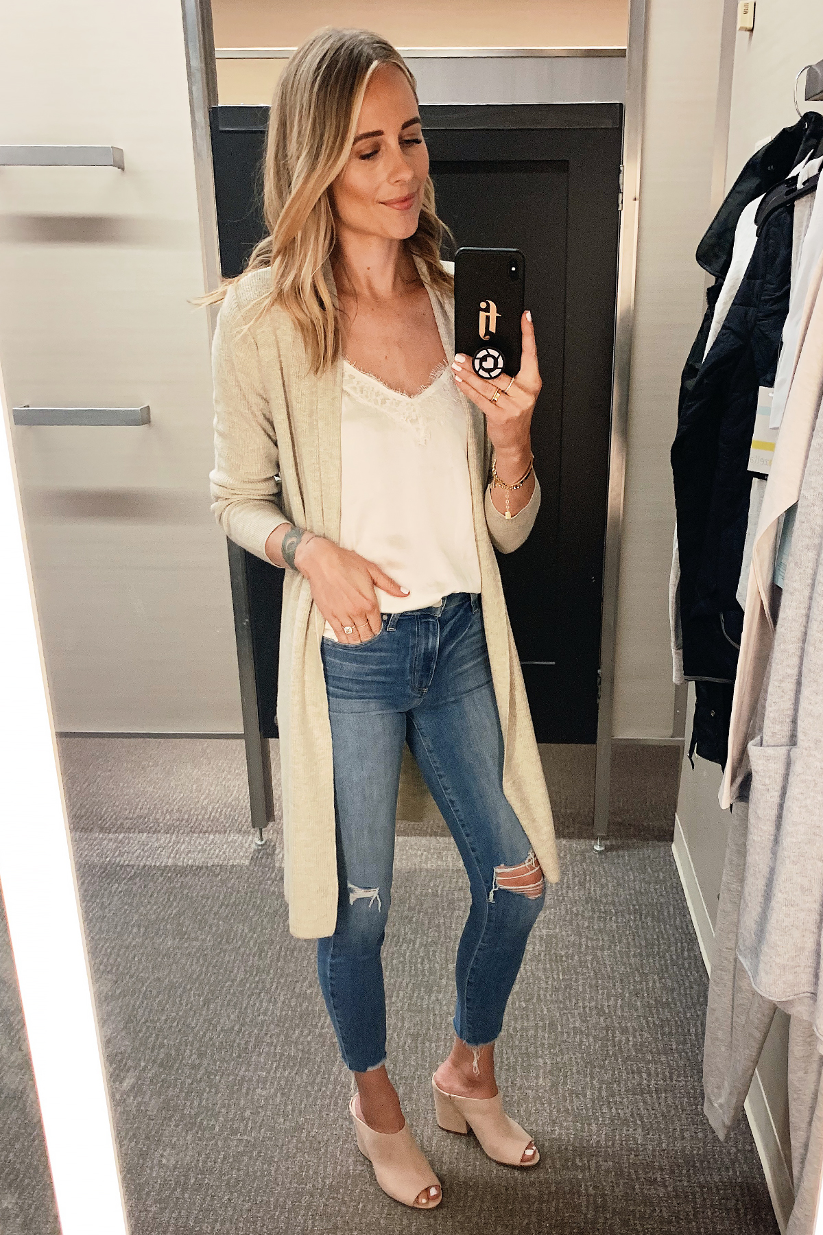 Fashion Jackson Wearing Nordstrom Annivesary Sale Leith Beige Long Cardigan BP White Lace Camisole Paige Ripped Skinny Jeans Blush Mules