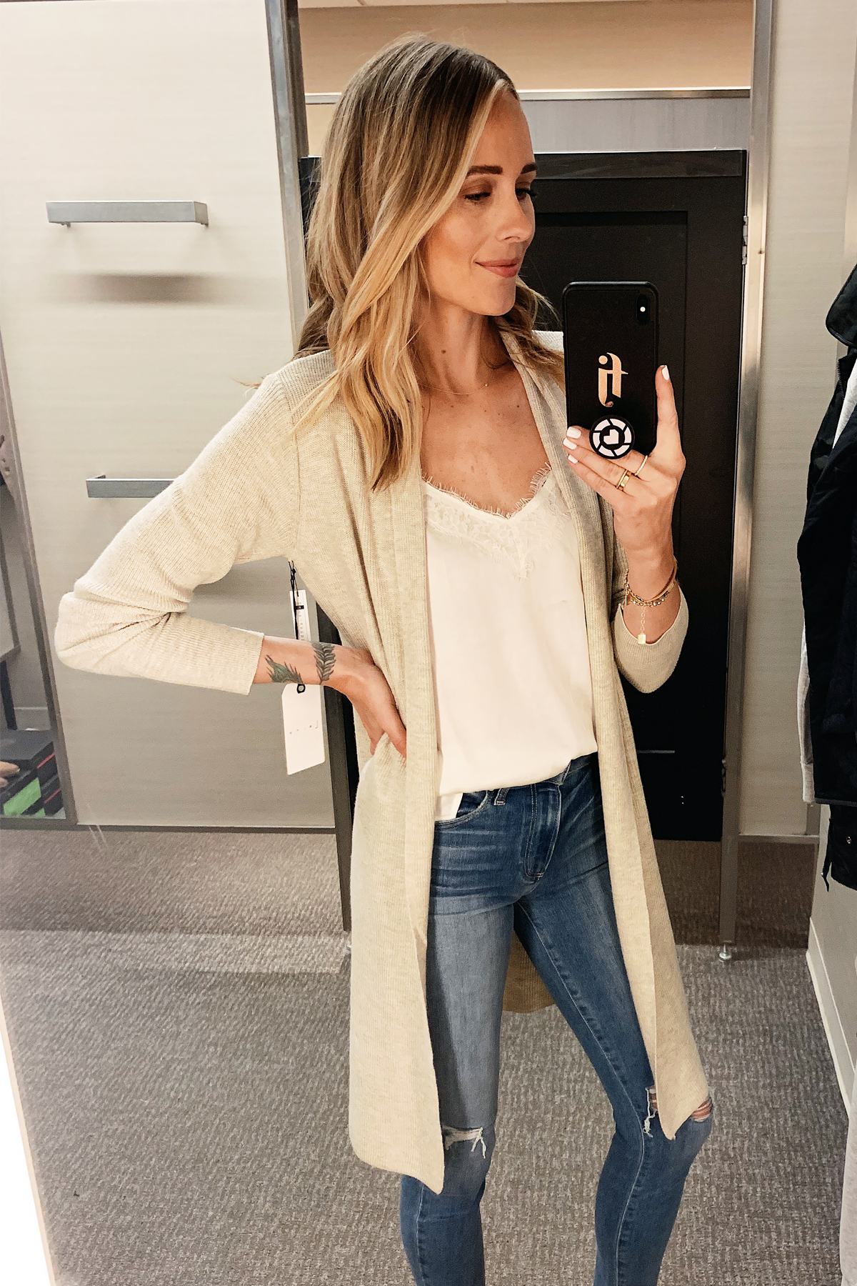 Fashion Jackson Wearing Nordstrom Annivesary Sale Leith Beige Long Cardigan BP White Lace Camisole Paige Ripped Skinny Jeans