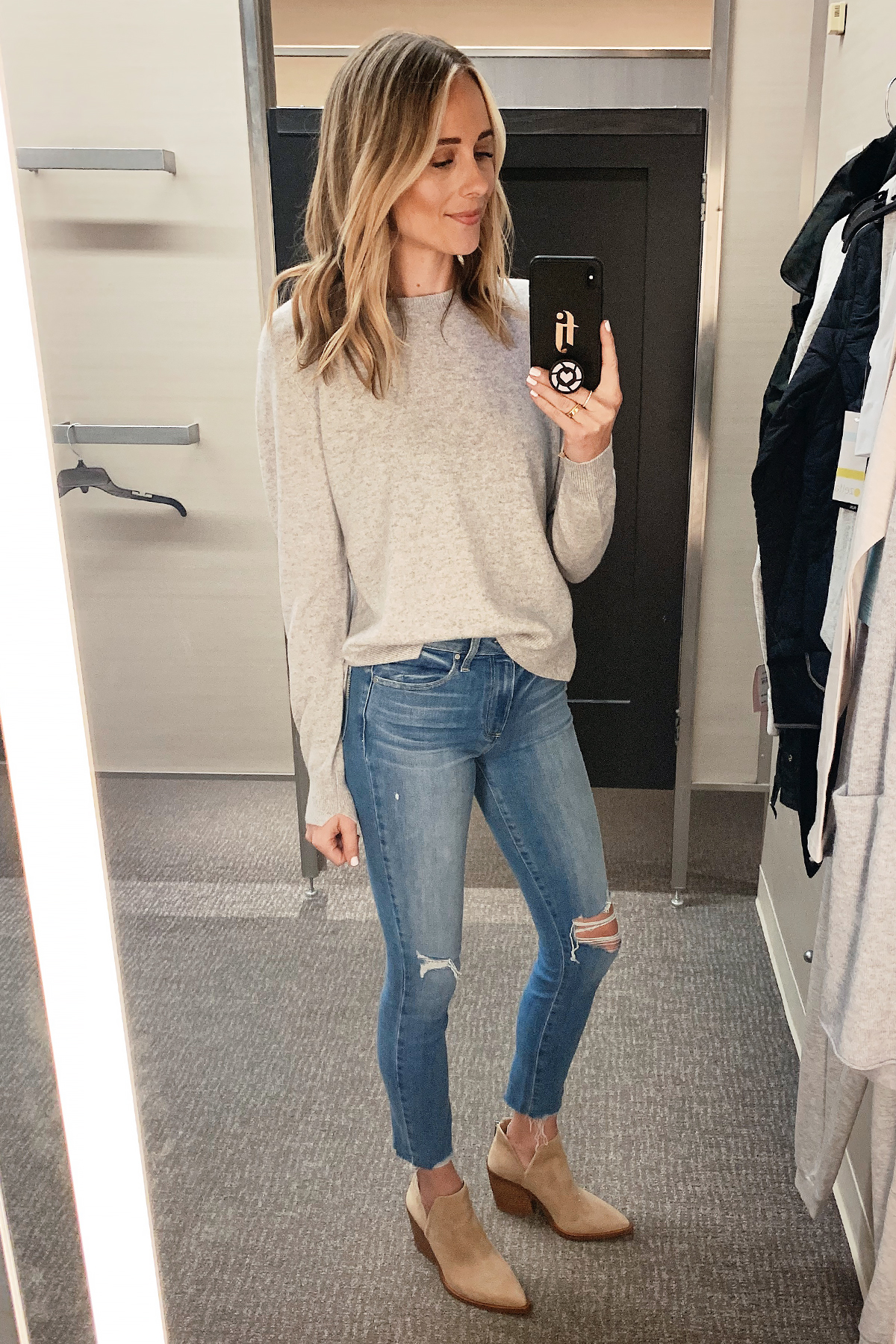 Fashion Jackson Wearing Nordstrom Annivesary Sale Vince Grey Cashmere Sweater Paige Ripped Skinny Jeans Vince Camuto Tan Booties