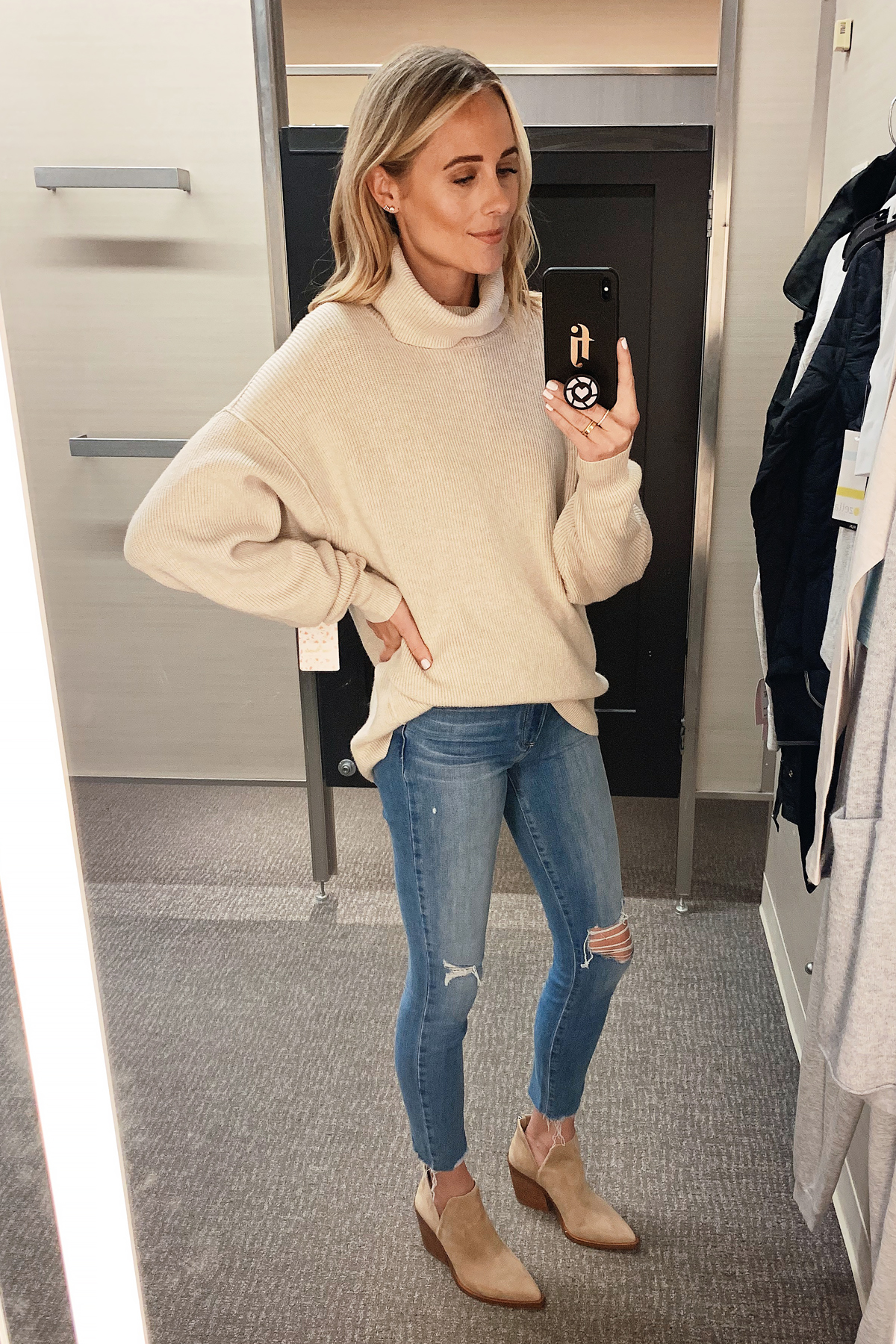 Fashion Jackson Wearing Nordstrom Annivesrary Sale Free People Turtleneck Tunic Paige Ripped Skinny Jeans Vince Camuto Tan Booties