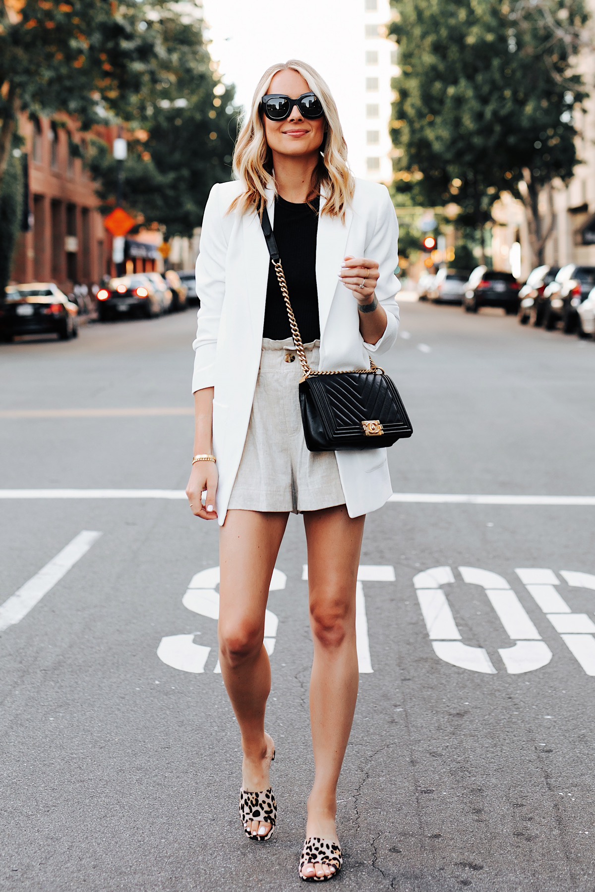 Fashion Jackson Wearing Nordstrom Long White Blazer Black Top Tan Linen Shorts Chanel Black Boy Bag Topshop Leopard Sandals 1