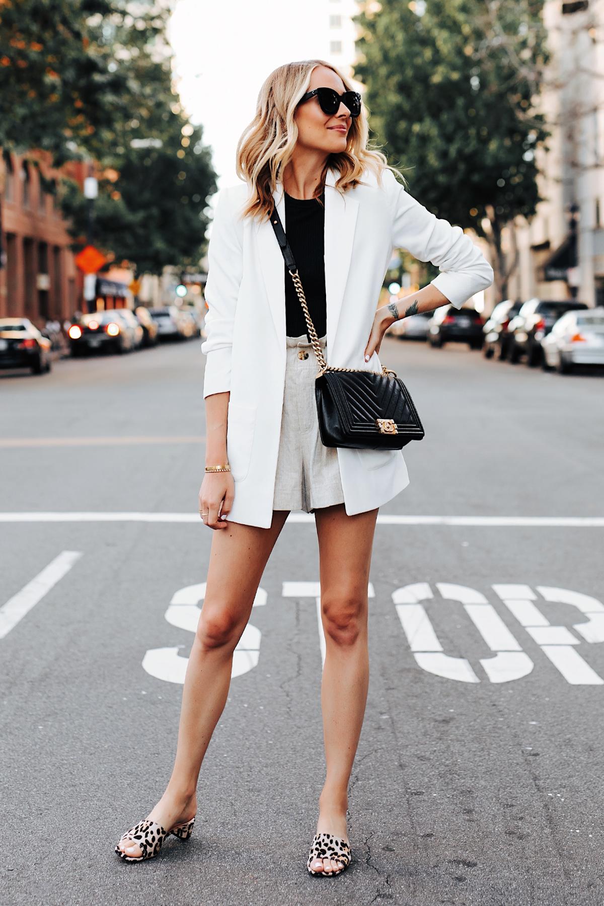 Fashion Jackson Wearing Nordstrom Long White Blazer Black Top Tan Linen Shorts Chanel Black Boy Bag Topshop Leopard Sandals 2