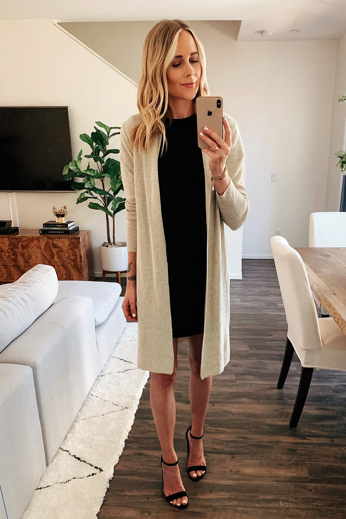 Fashion Jackson Wearing Nordstrom Sale Beige Long Cardigan Black Dress Black Heeled Sandals
