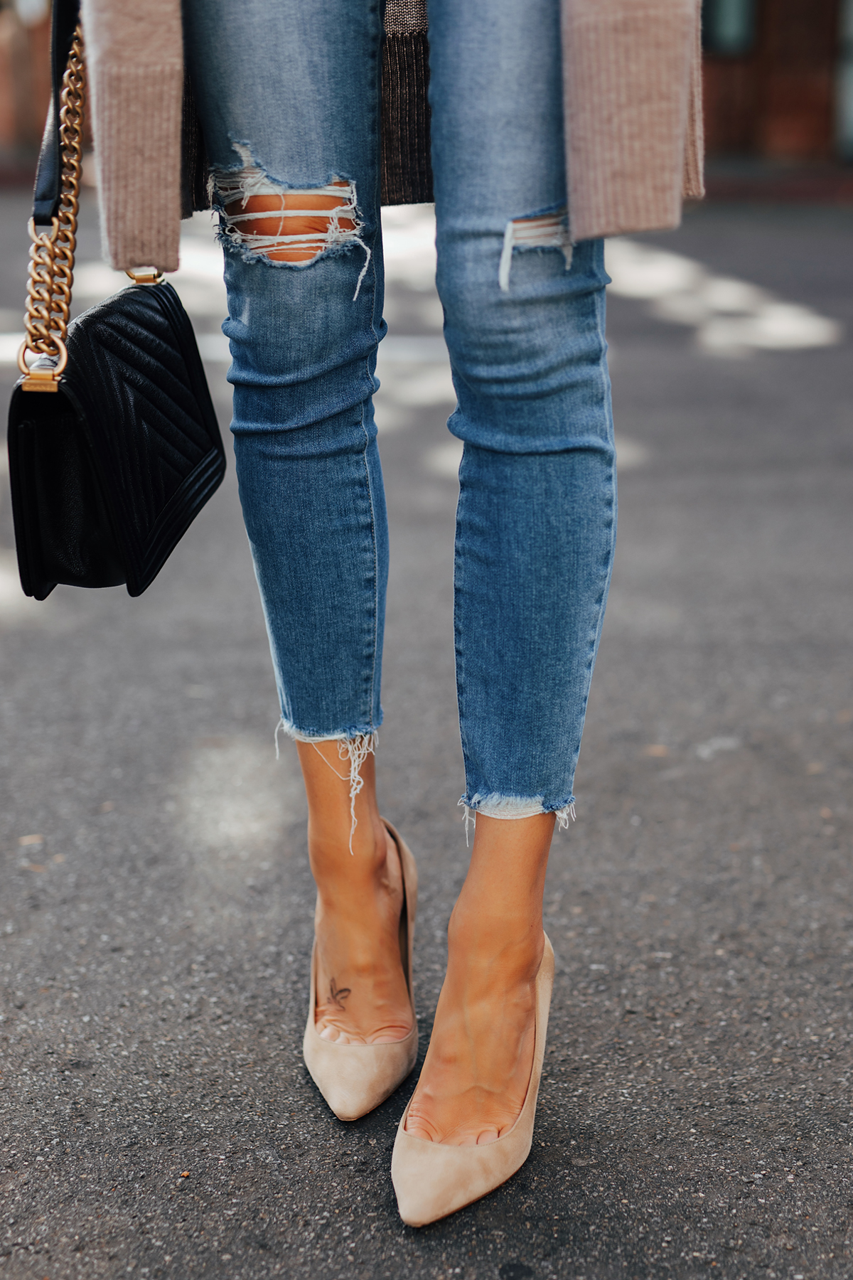 Fashion Jackson Wearing Paige Hoxton Ripped Skinny Jeans Nude Pumps