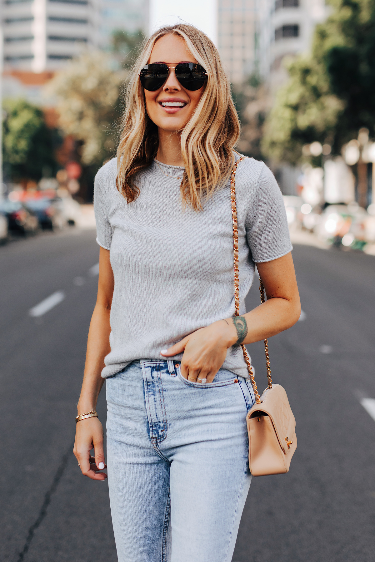 Fashion Jackson Wearing Theory Tolleree Short Sleeve Sweater Grey Abercrombie Straight Leg Jeans Chanel Beige Handbag