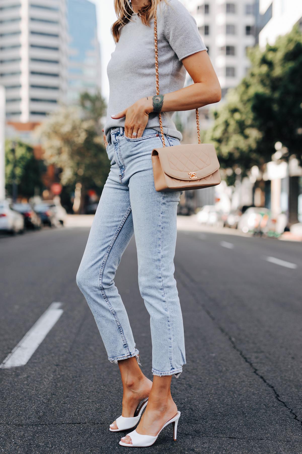 Fashion Jackson Wearing Theory Tolleree Short Sleeve Sweater Grey Abercrombie Straight Leg Jeans White Heels Chanel Beige Handbag 1