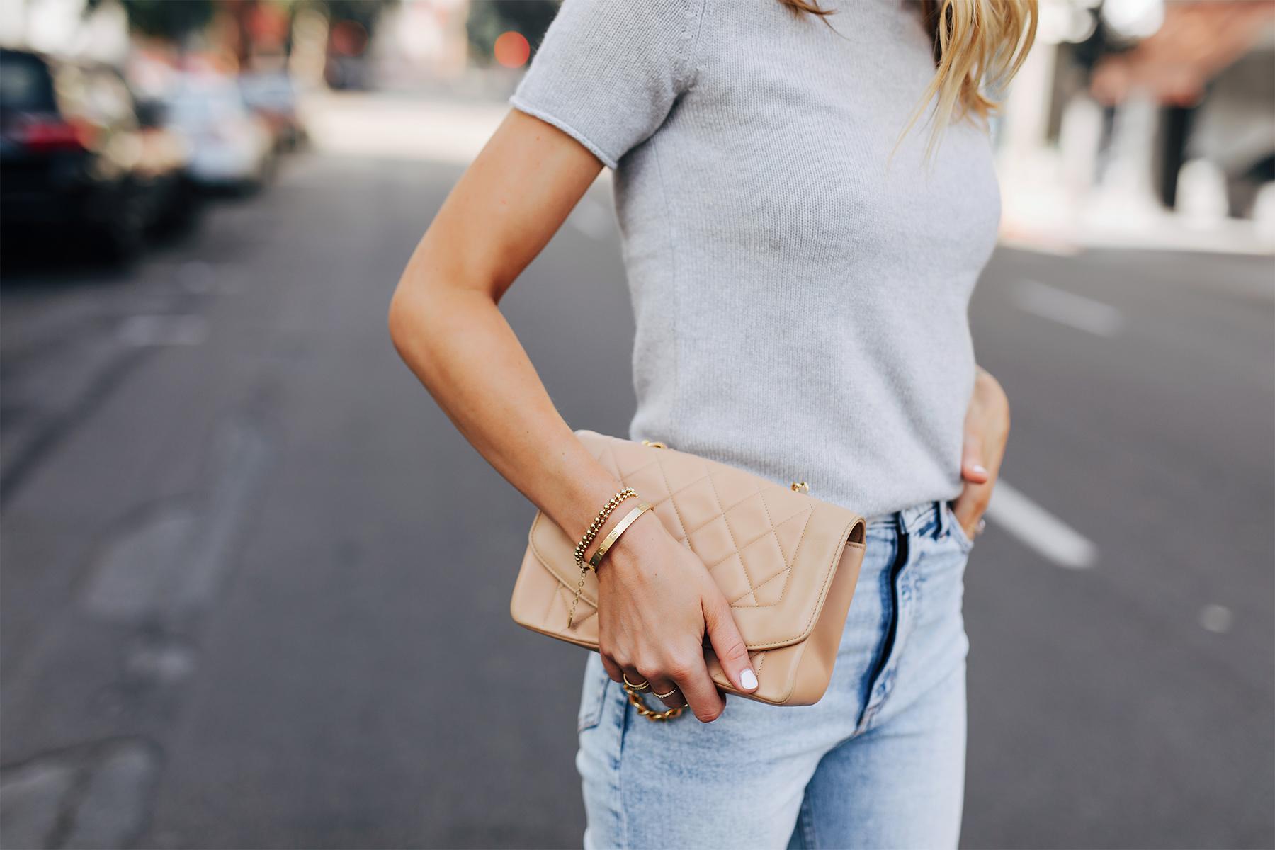 Fashion Jackson Wearing Theory Tolleree Grey Short Sleeve Sweater Beige Chanel Handbag Light Wash Jeans