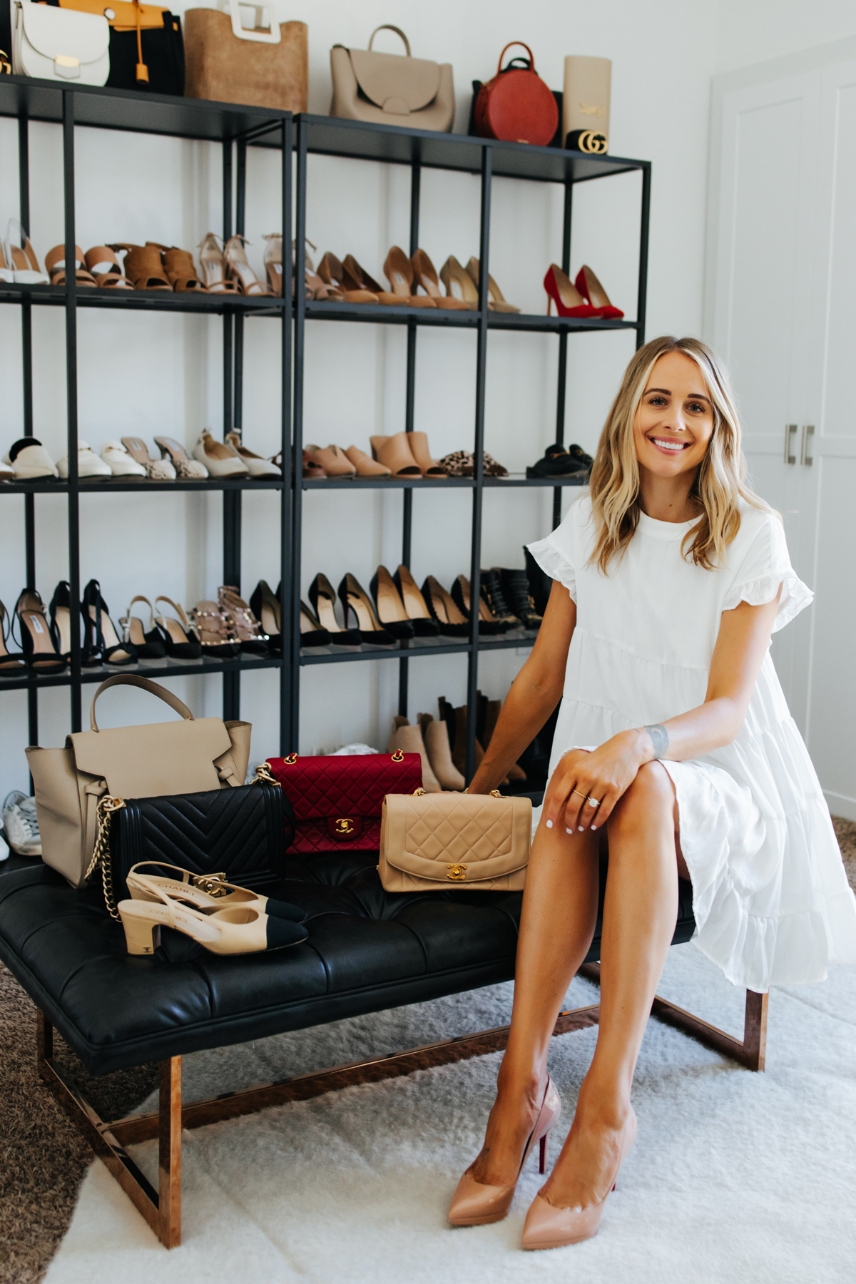 Fashion Jackson Wearing White Ruffle Dress in Closet Office Designer Handbag Designer Shoes