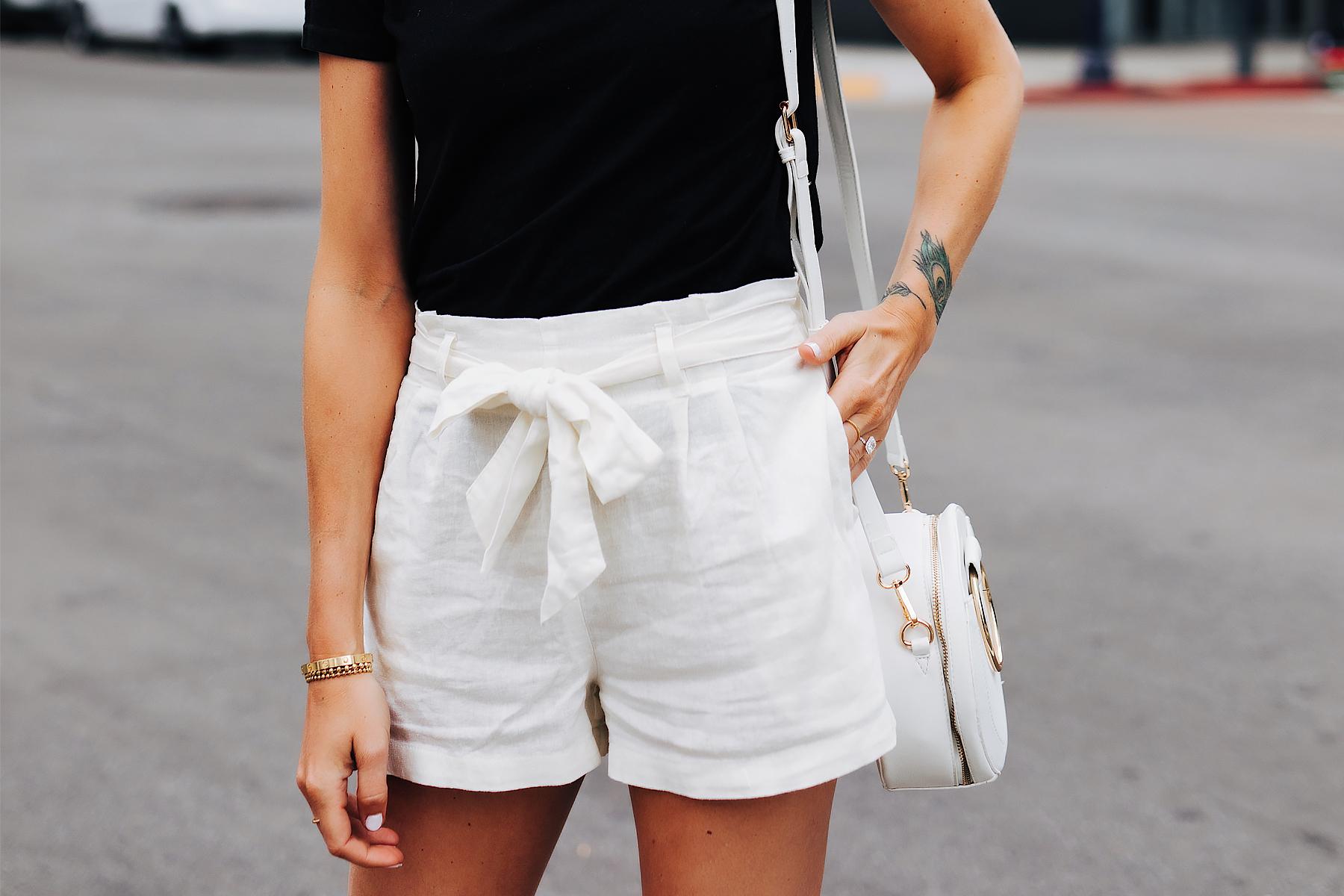 Fashion Jackson Wearing White Tie Front Shorts Black Tshirt White Circle Handbag