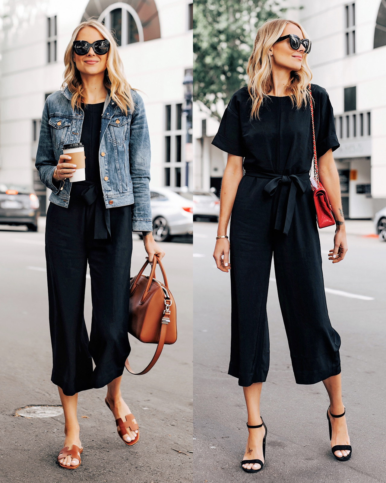 Fashion Jackson Wearing Everlane Black Jumpsuit Denim Jacket Sandals