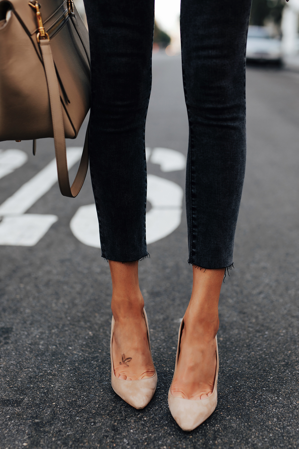 Abercrombie Black Skinny Jeans Jimmy Choo Nude BB Pumps