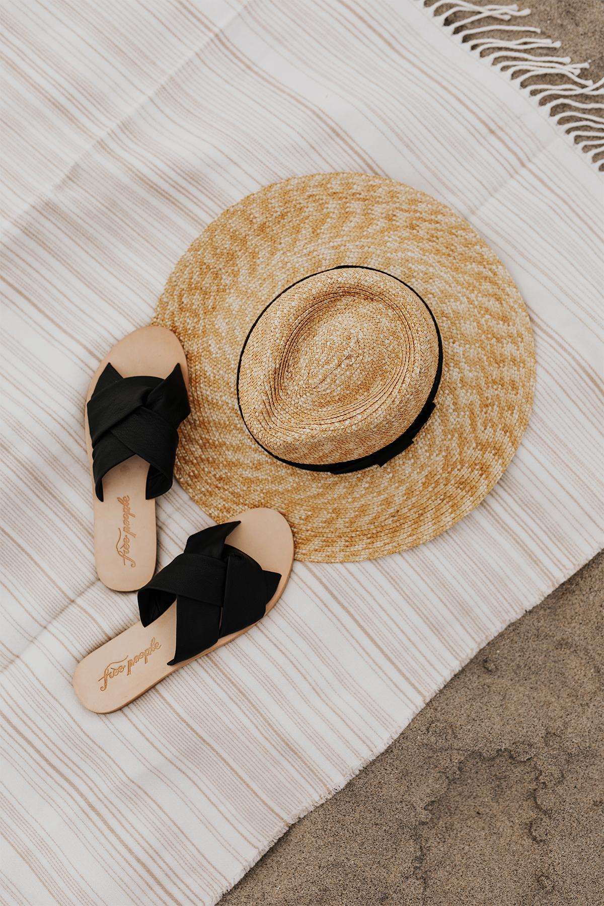 Brixton Straw Hat Free People Black Sandals Beach Blanket