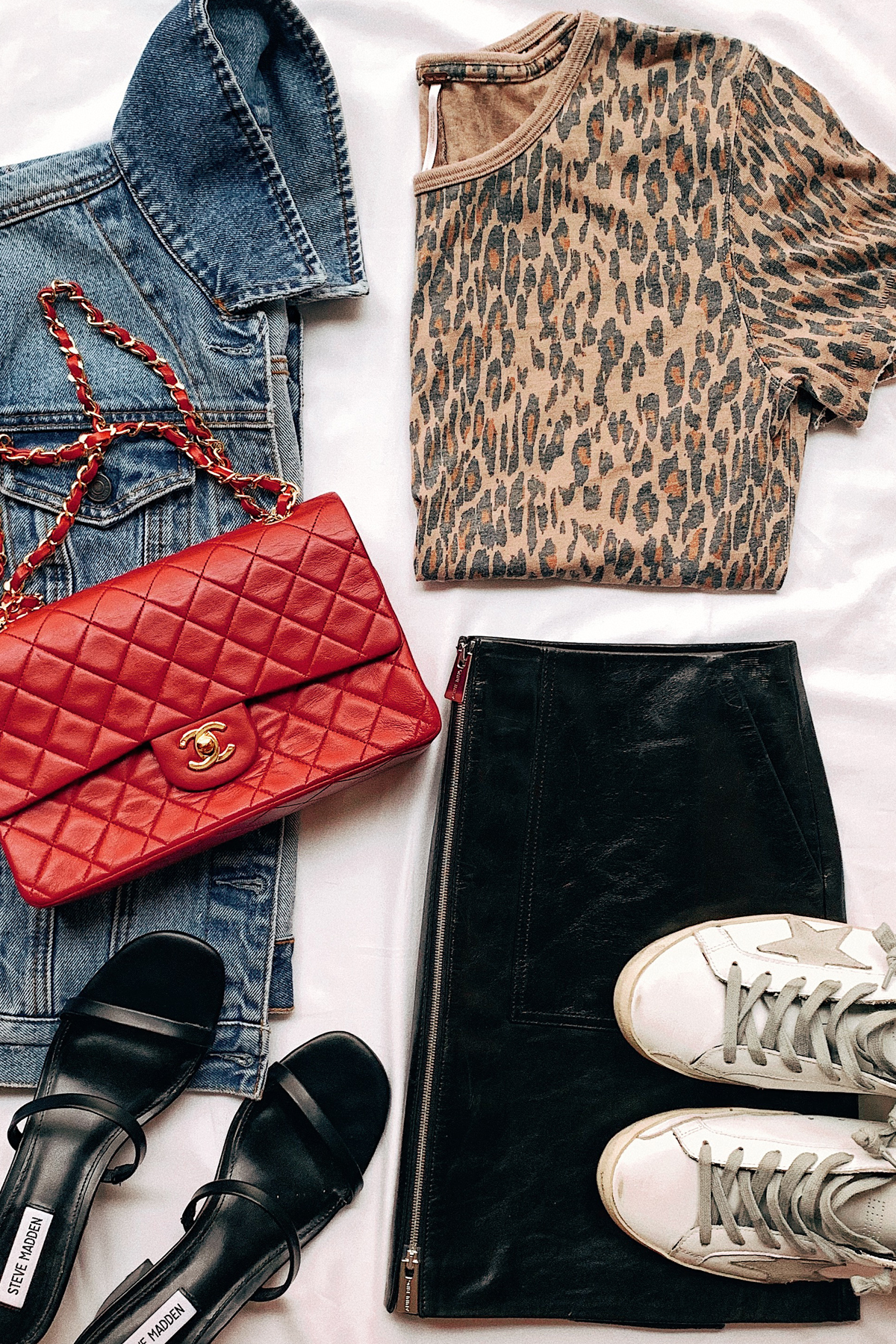 Denim Jacket Leopard Tshirt Black Leather Mini Skirt Red Chanel Handbag Golden Goose Sneakers Black Sandals