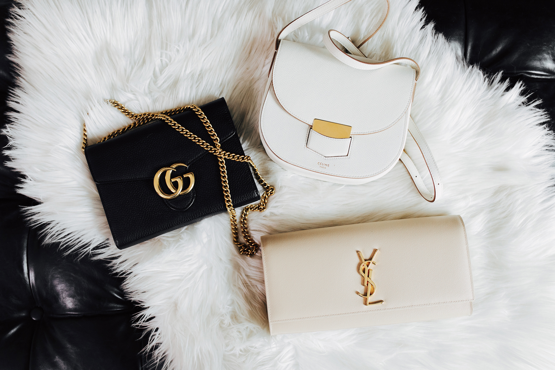 Fashion Jackson Designer Handbag Collection Gucci Marmont Black Wallet on a Chain Celine Trotteur White YSL Monogram Nude Clutch
