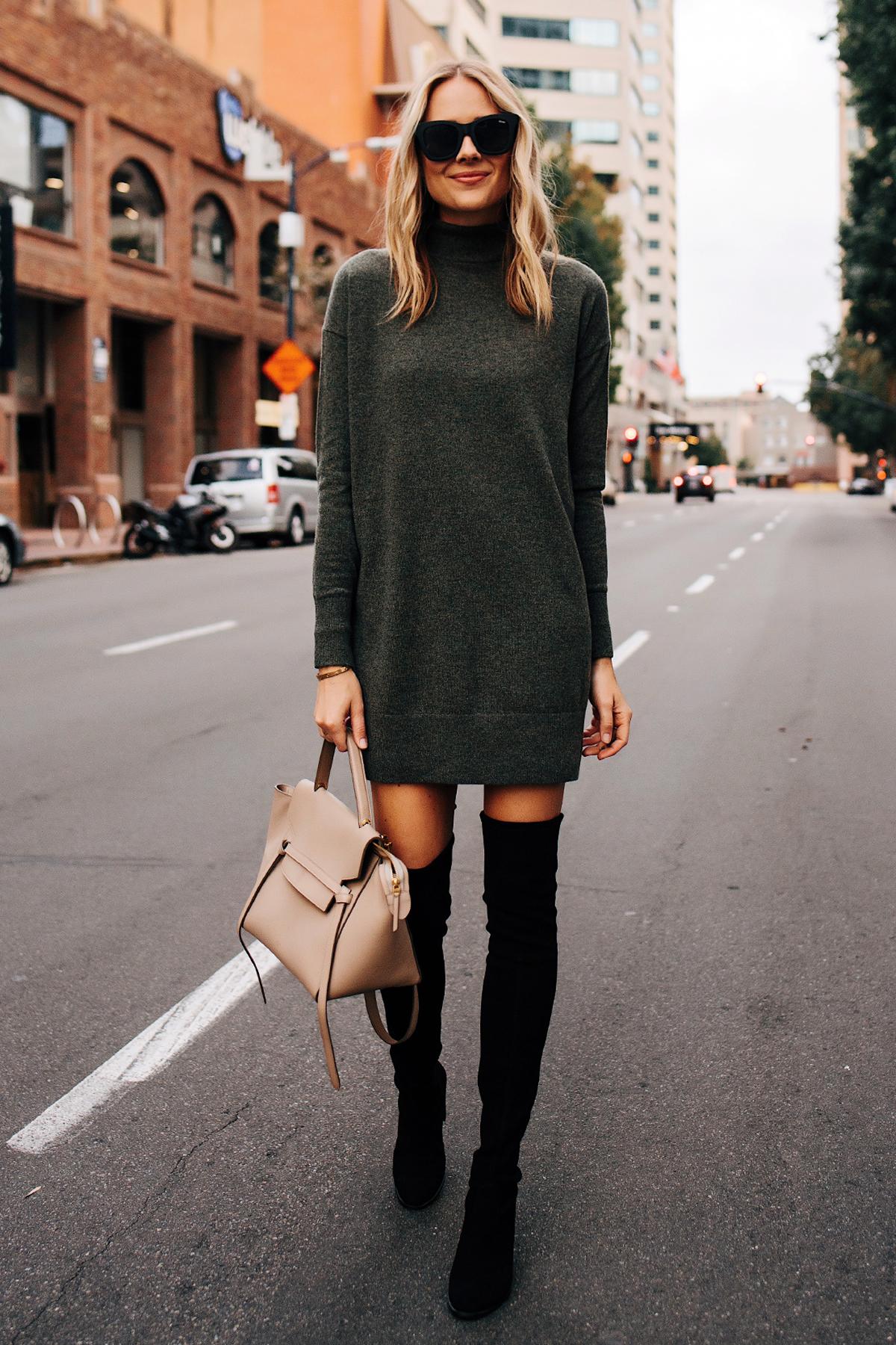 Fashion-Jackson-Everlane-Sweater-Dress-Stuart-Weitzman-Black-OTK-Boots-Outfit-Celine-Mini-Belt-Bag-Taupe New