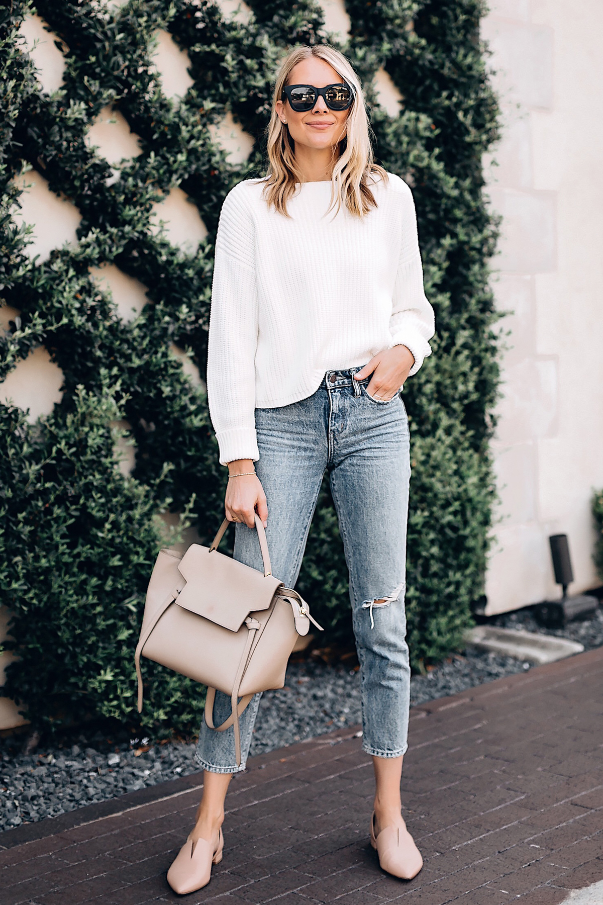Fashion-Jackson-French-Connection-Millie-White-Chunky-Sweater-Denim-Ankle-Crop-Jeans-Celine-Mini-Belt-Bag-Vince-Blush-Flats-New