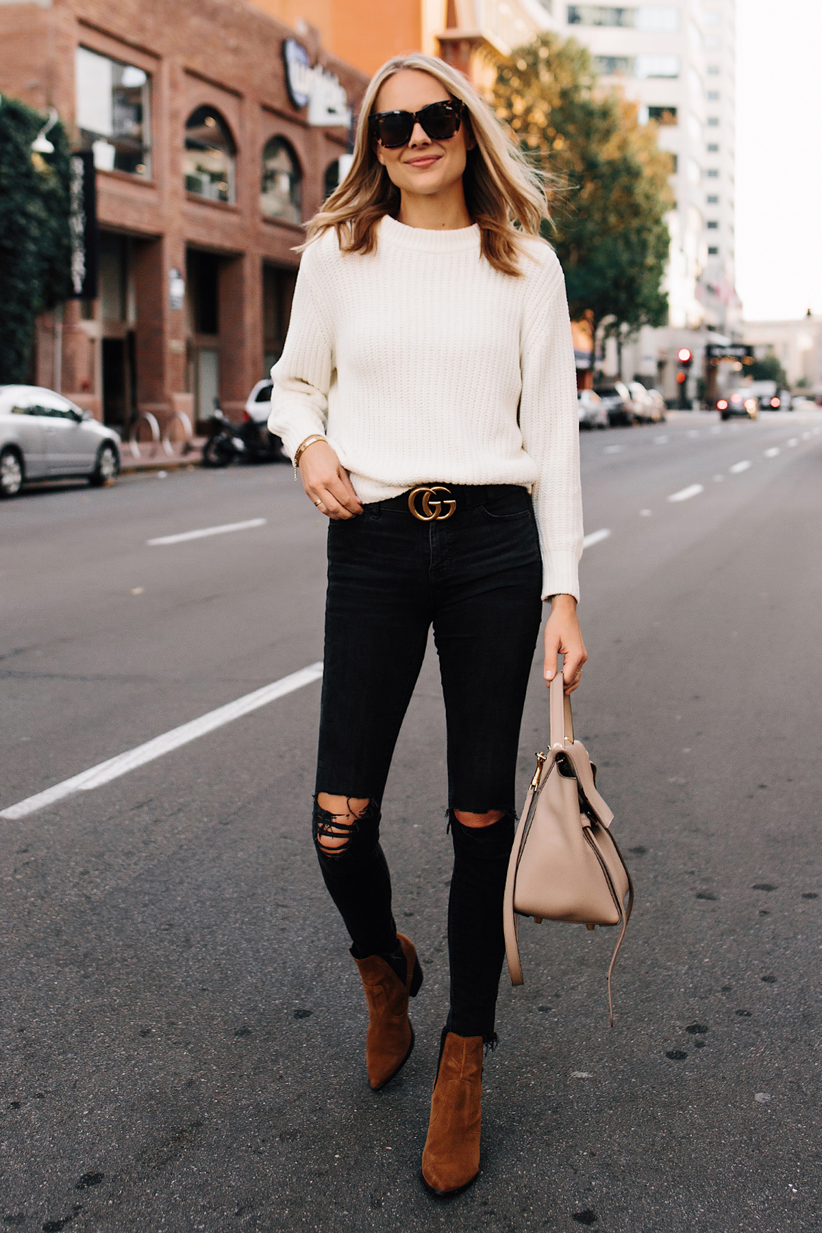 Fashion-Jackson-Ivory-Knit-Sweater-Madewell-Black-Ripped-Jeans-Gucci-Logo-Belt-Steve-Madden-Brown-Chelsea-Booties-Outfit-Celine-Mini-Belt-Bag New