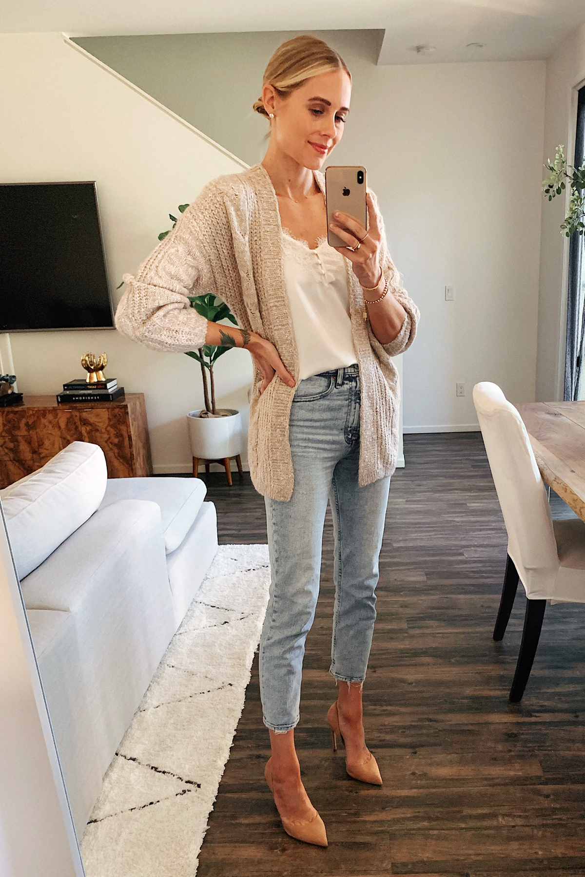 Fashion Jackson Wearing Abercrombie Beige Cardigan White Lace Camisole High Rise Acid Wash Jeans Nude Pumps