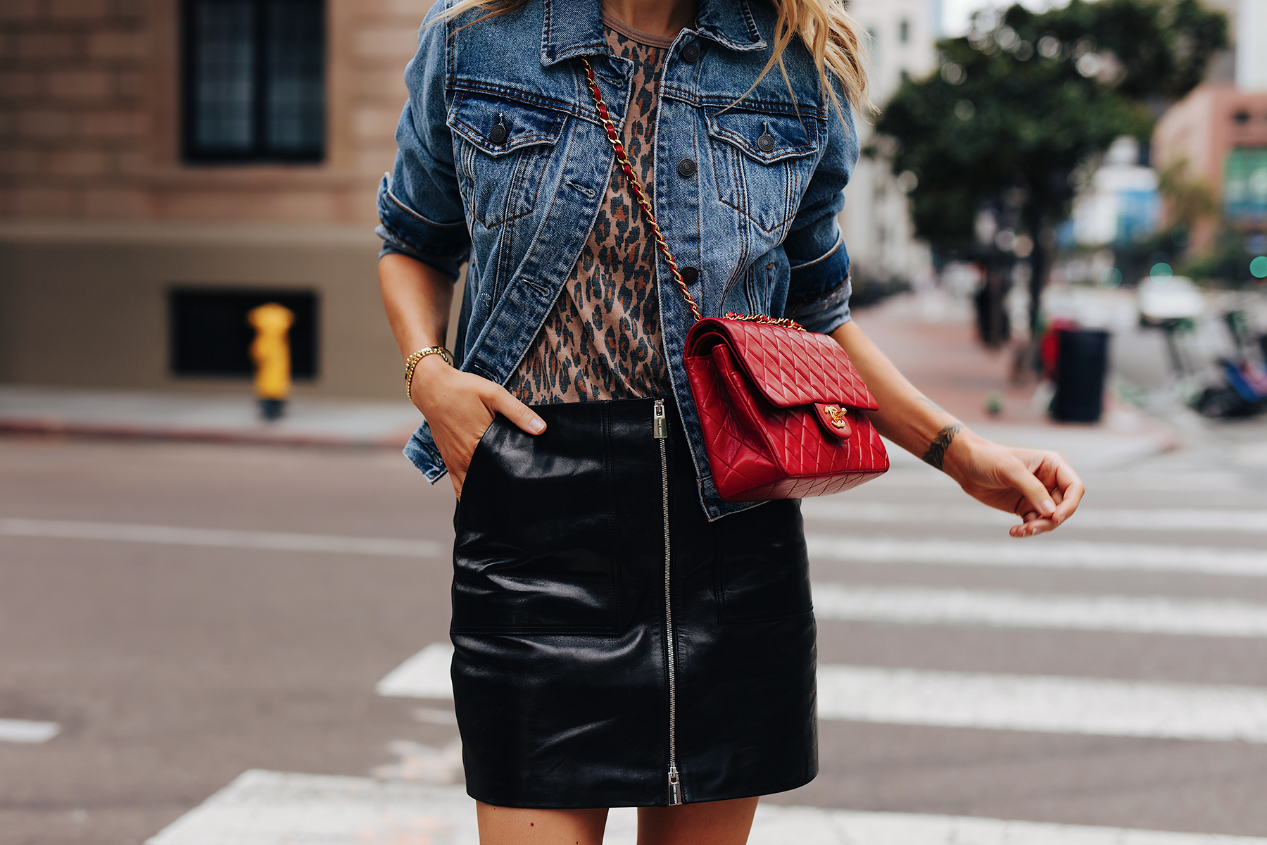 Fashion Jackson Wearing Abercrombie Denim Jacket Leopard Tshirt Anine Bing Black Leather Mini Skirt Chanel Quilted Red Handbag