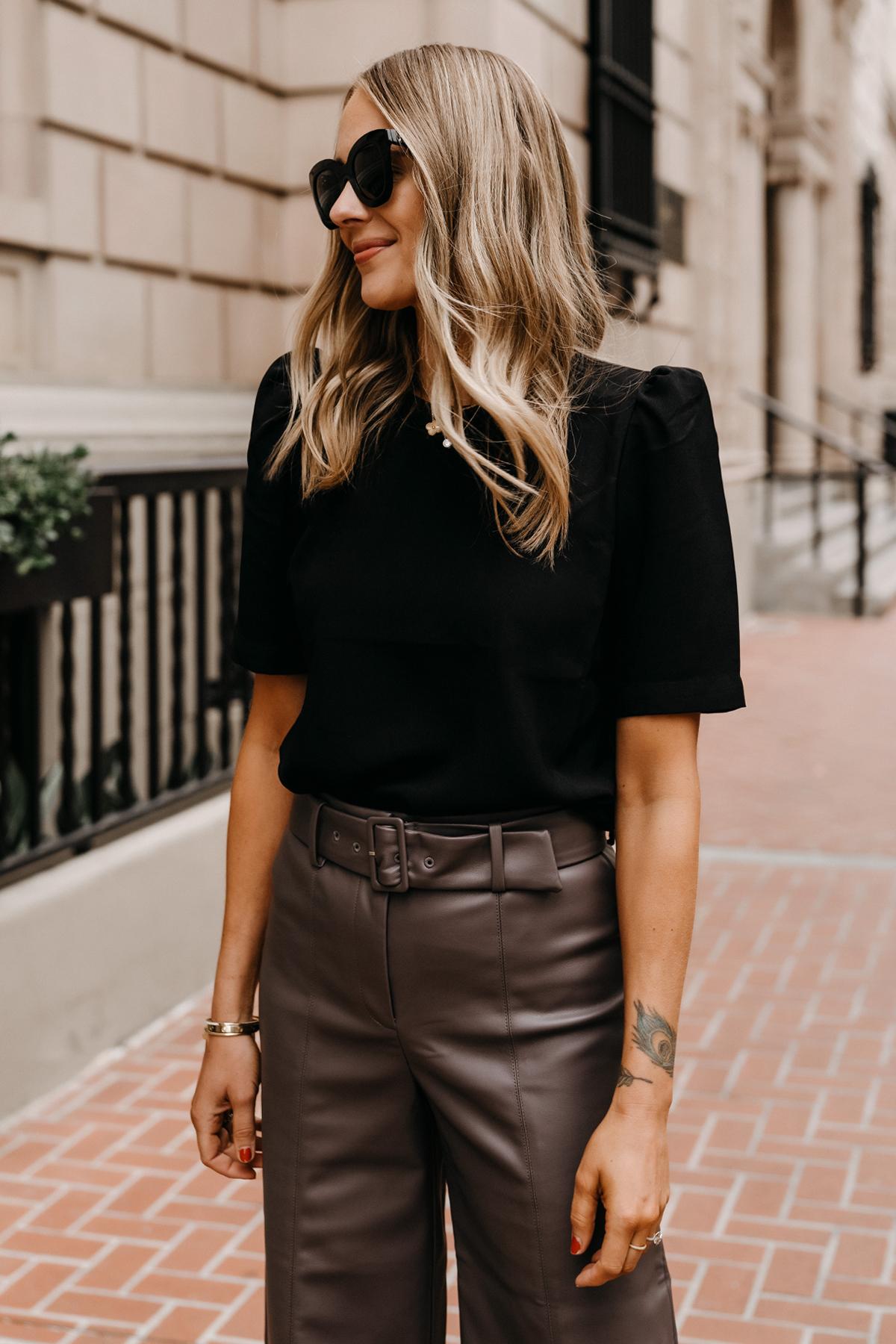 Fashion Jackson Wearing Ann Taylor Black Puff Sleeve Top Workwear Attire