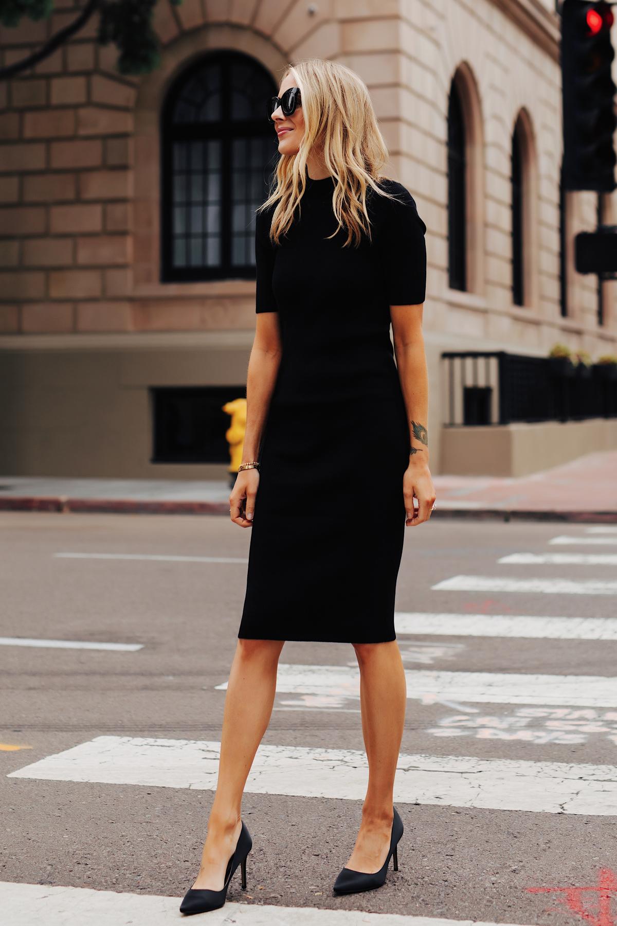 Fashion Jackson Wearing Black Midi Dress Black Pumps 1