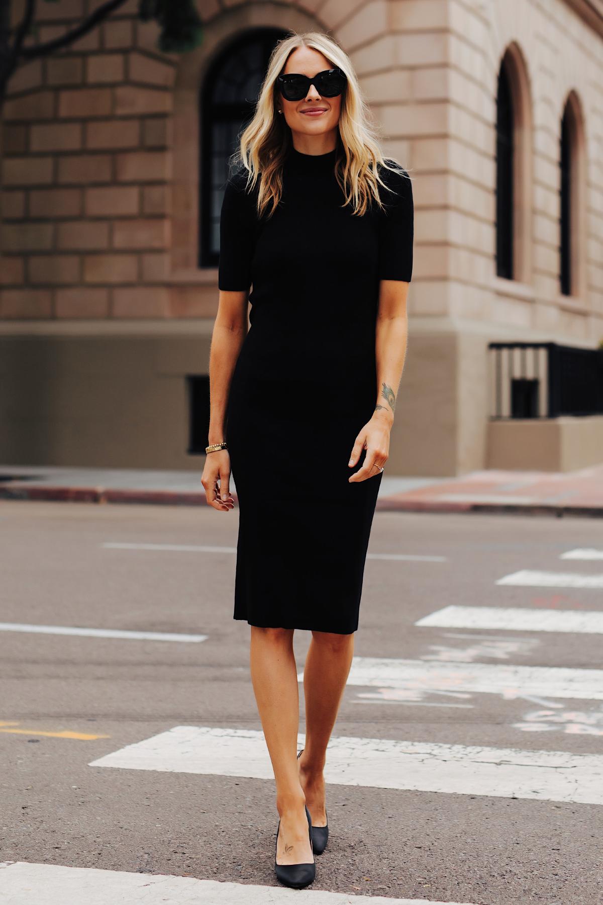 Fashion Jackson Wearing Black Midi Dress Black Pumps 2