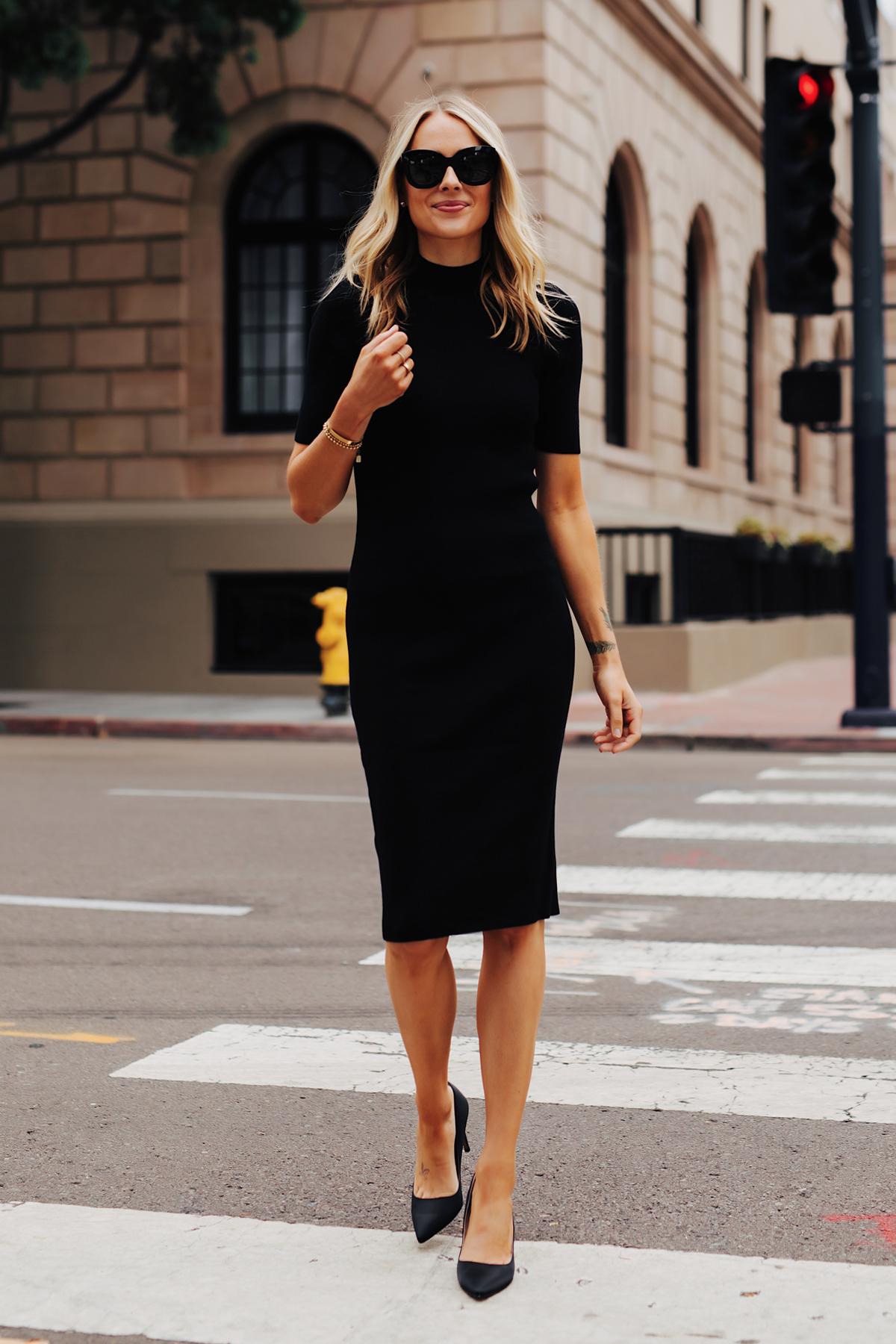 Fashion Jackson Wearing Black Midi Dress Black Pumps 4