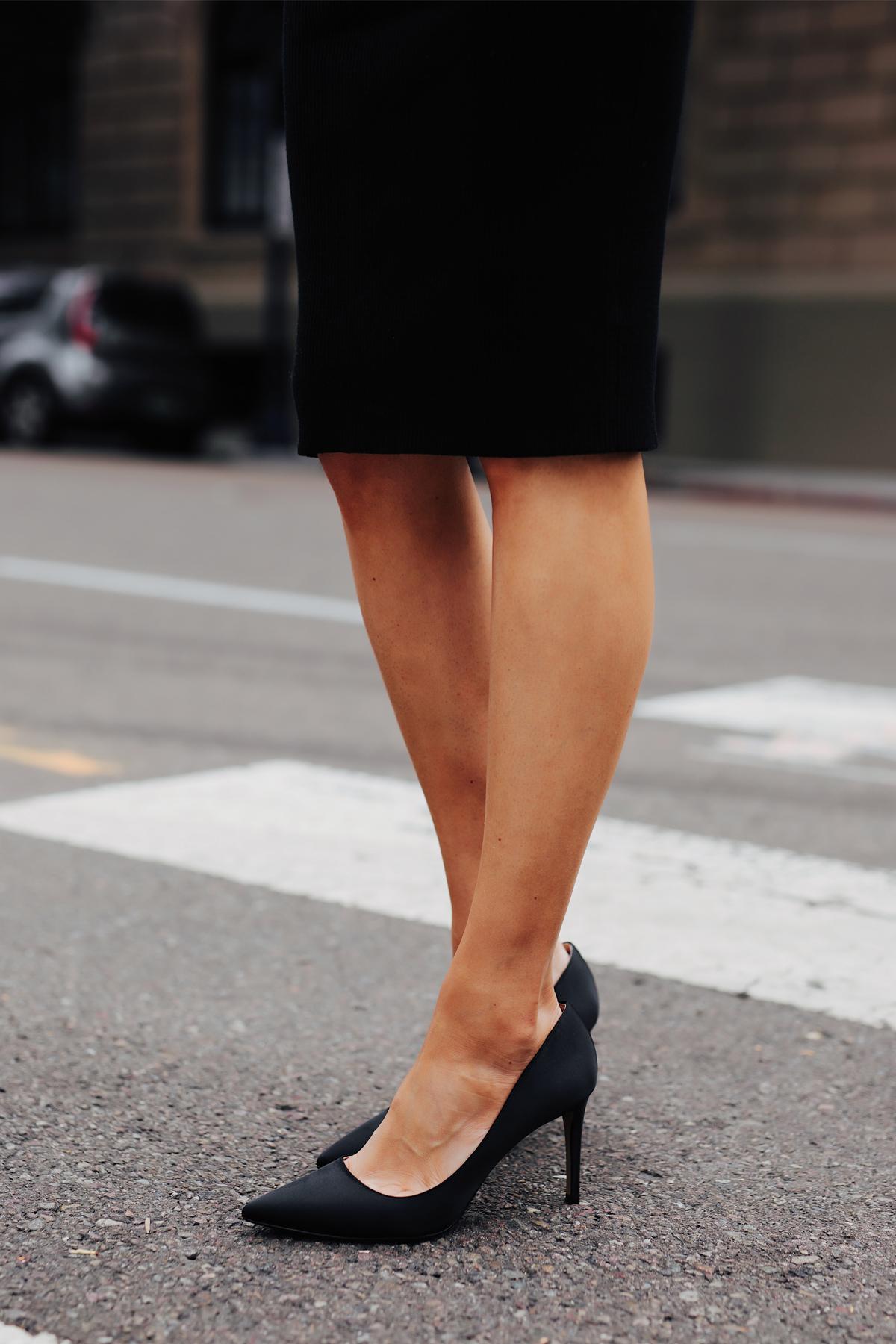 Fashion Jackson Wearing Black Midi Dress Black Pumps