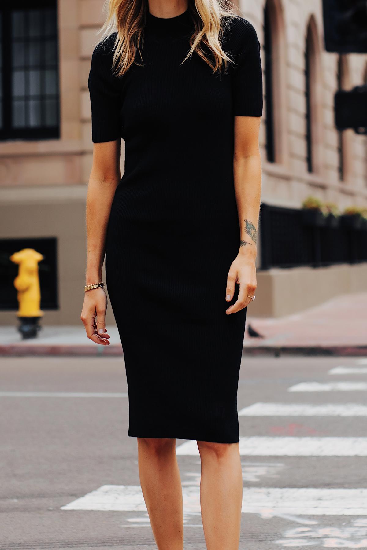 Fashion Jackson Wearing Black Ribbed Mock Neck Midi Dress 2