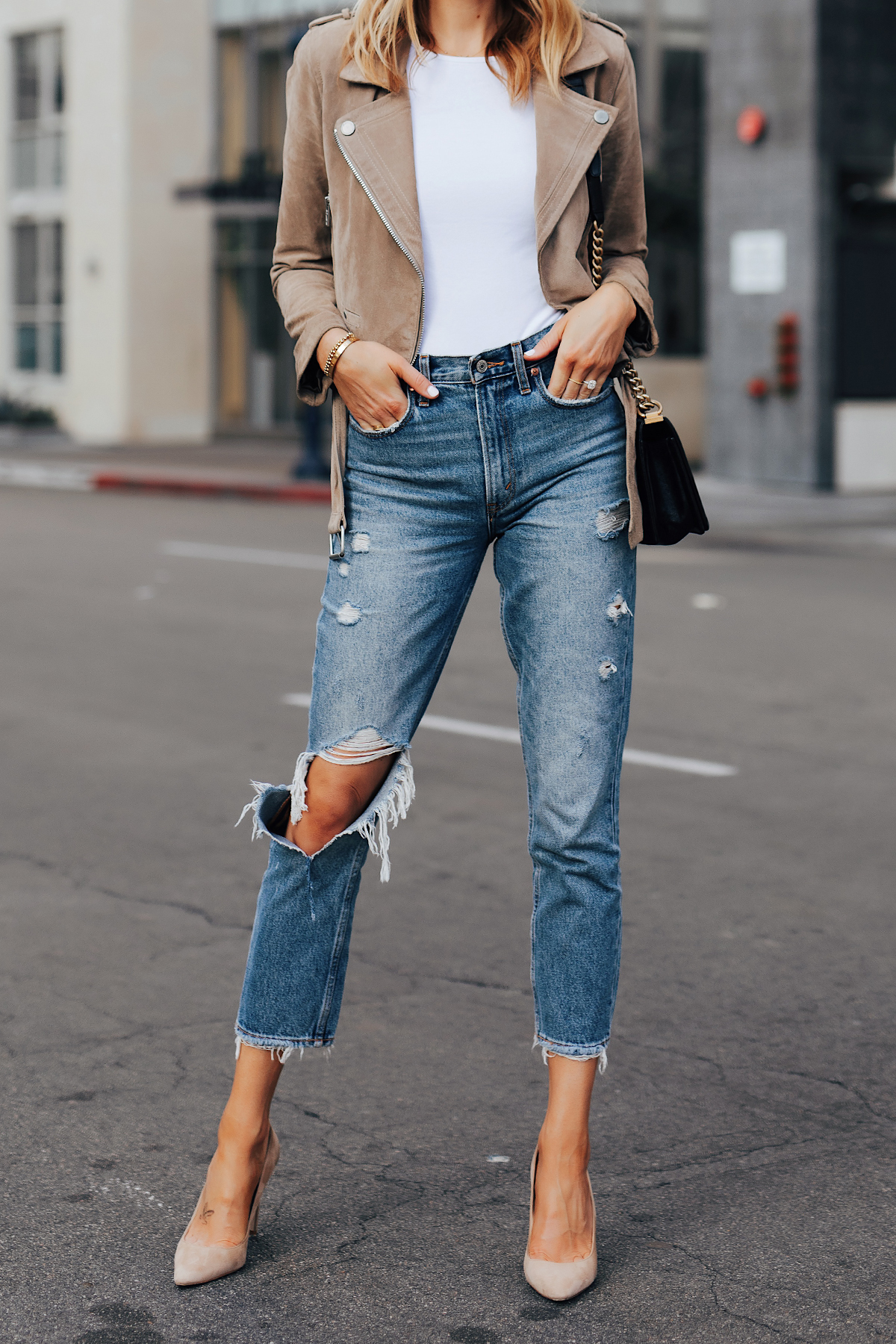 Fashion Jackson Wearing Blanknyc Suede Moto Jacket San Stoner White Bodysuit Ripped Jeans Nude Pumps