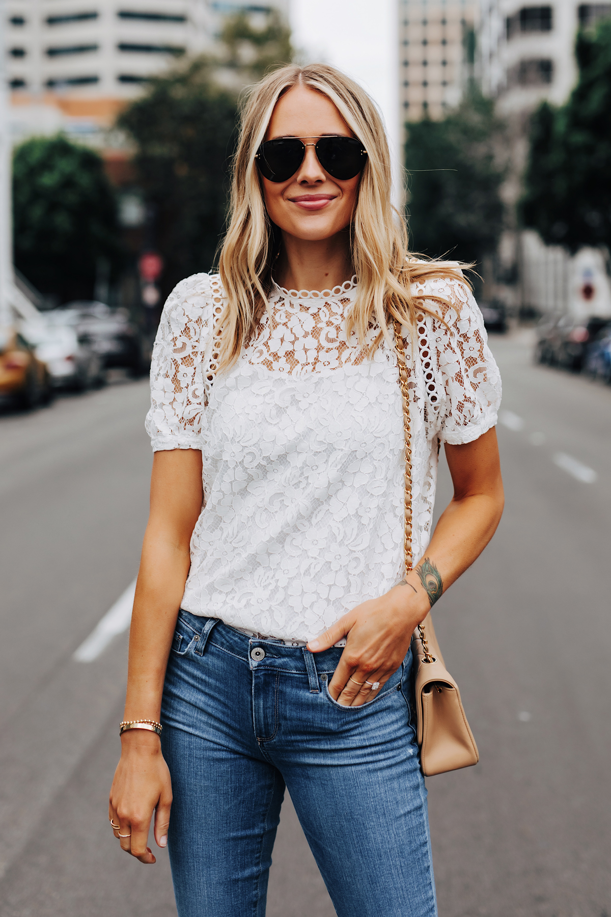 Fashion Jackson Wearing Bloomingdales Short Sleeve White Lace Top Paige Jeans Summer Date Night Outfit