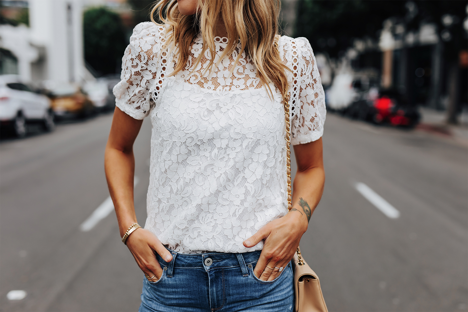 Fashion Jackson Wearing Bloomingdales Short Sleeve White Lace Top Summer Date Night Outfit